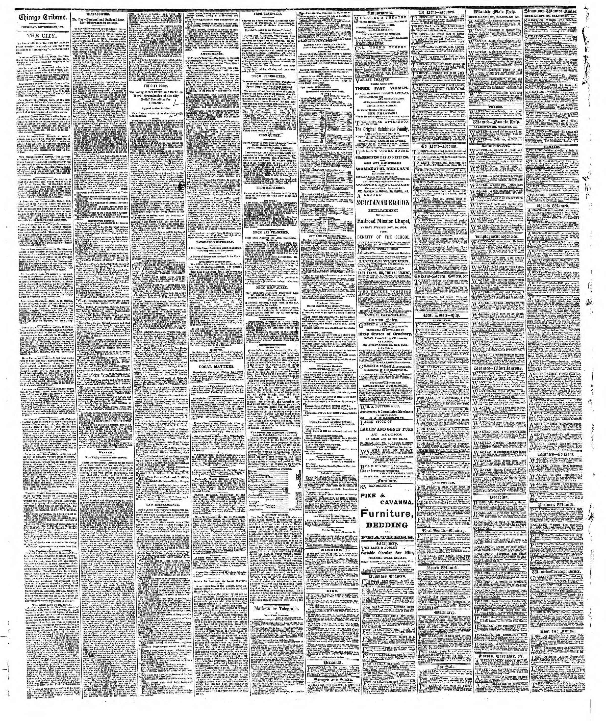 Newspaper of The Chicago Tribune dated November 29, 1866 Page 4