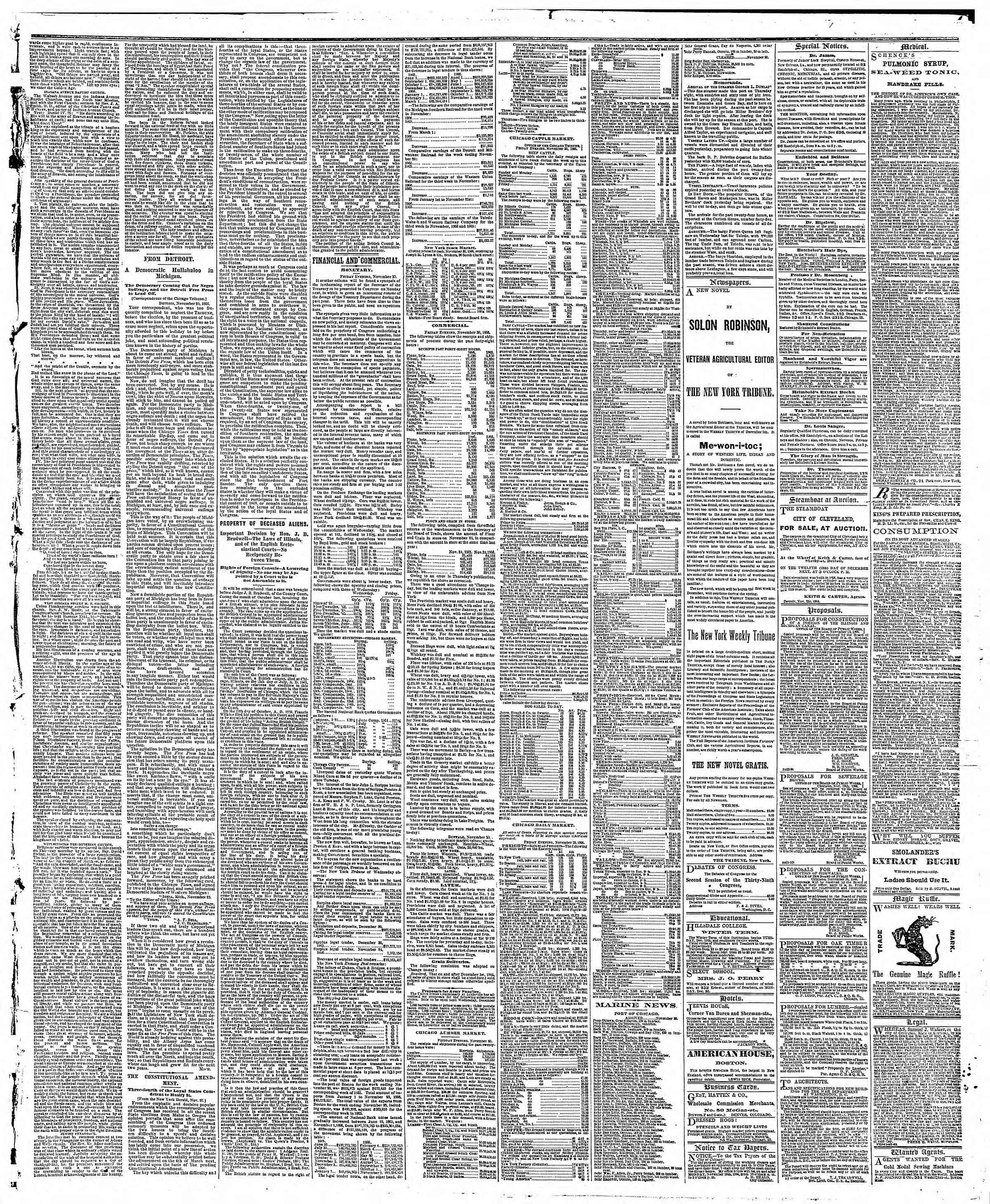 Newspaper of The Chicago Tribune dated December 1, 1866 Page 3