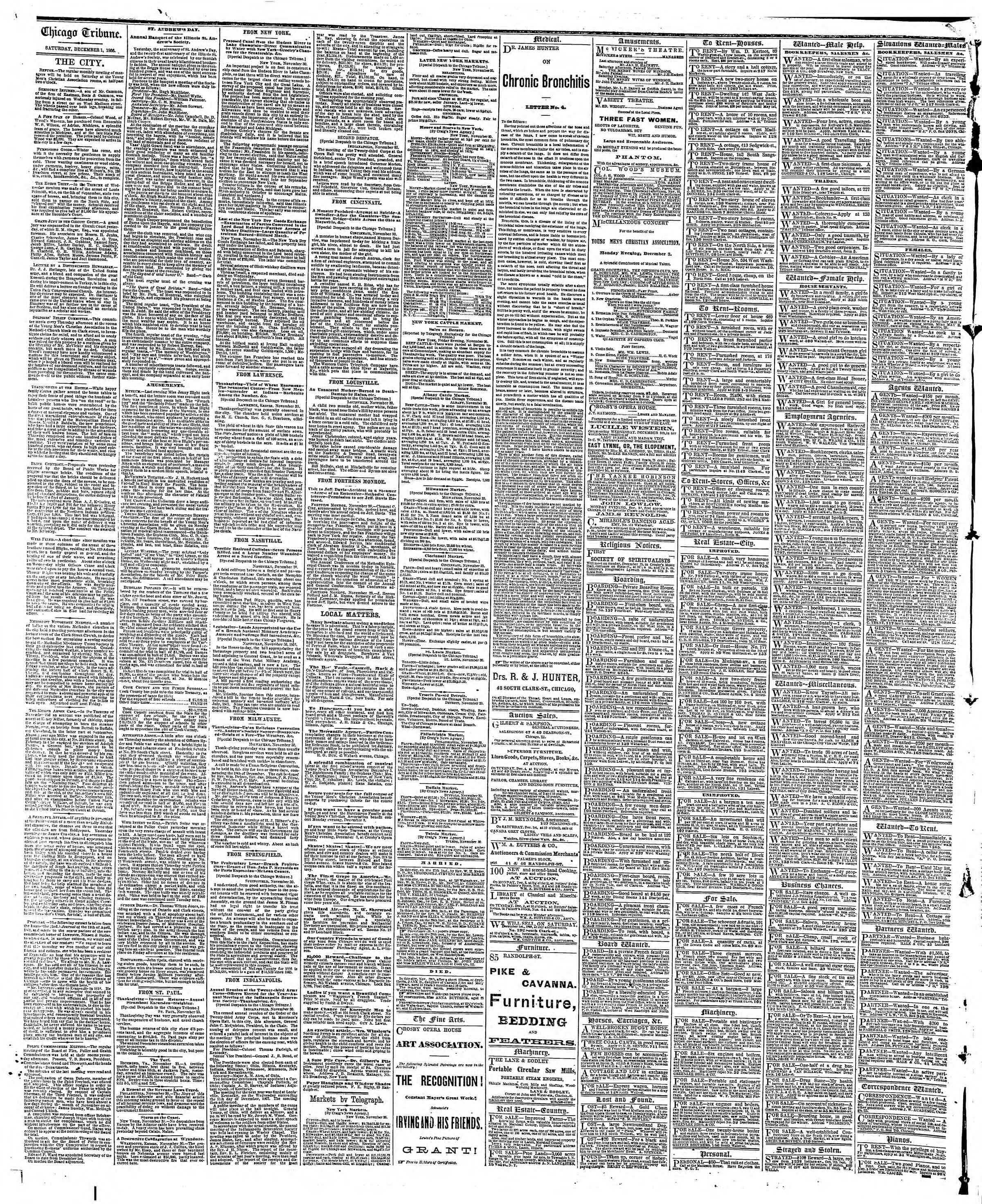 Newspaper of The Chicago Tribune dated December 1, 1866 Page 4