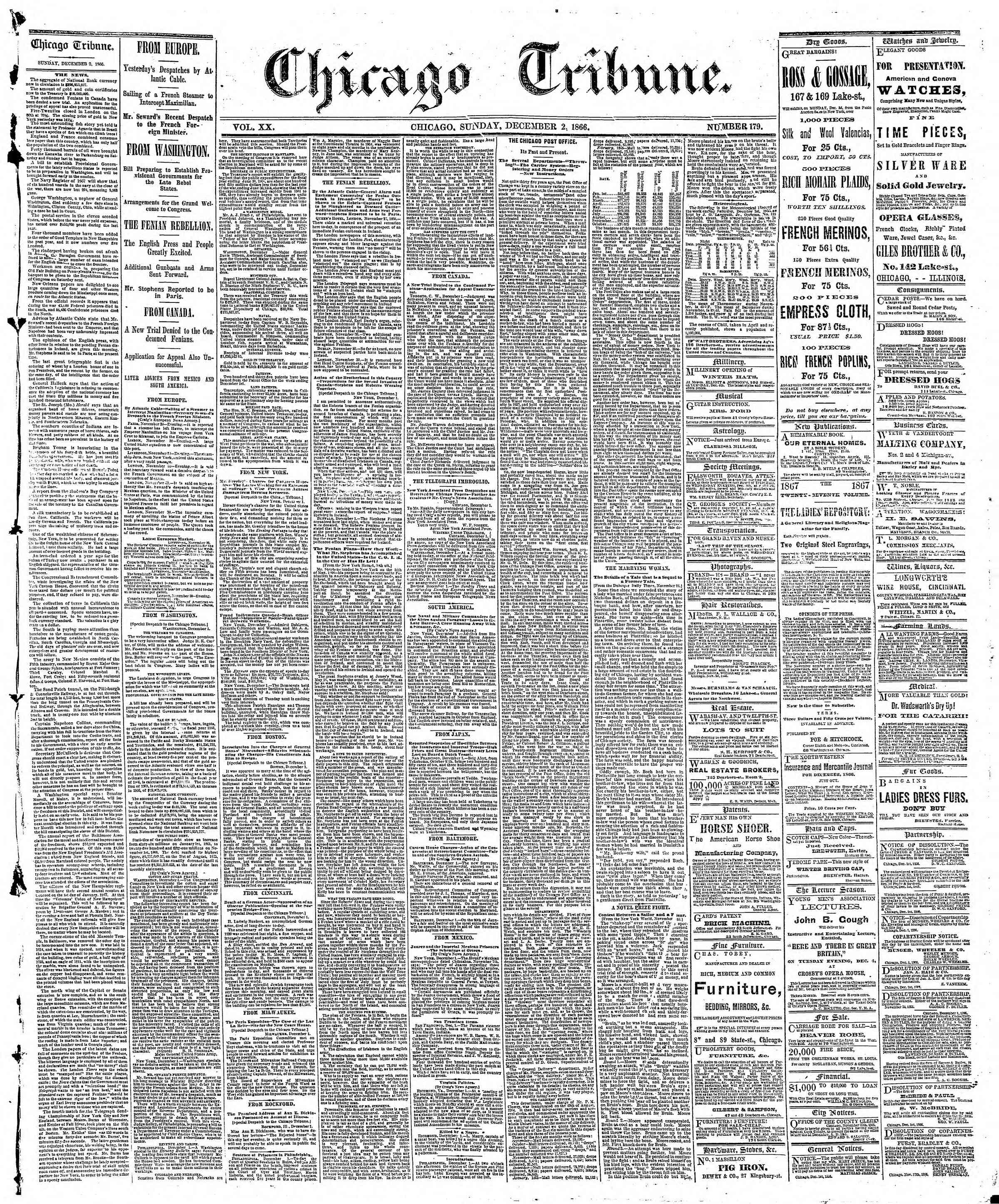 Newspaper of The Chicago Tribune dated December 2, 1866 Page 1