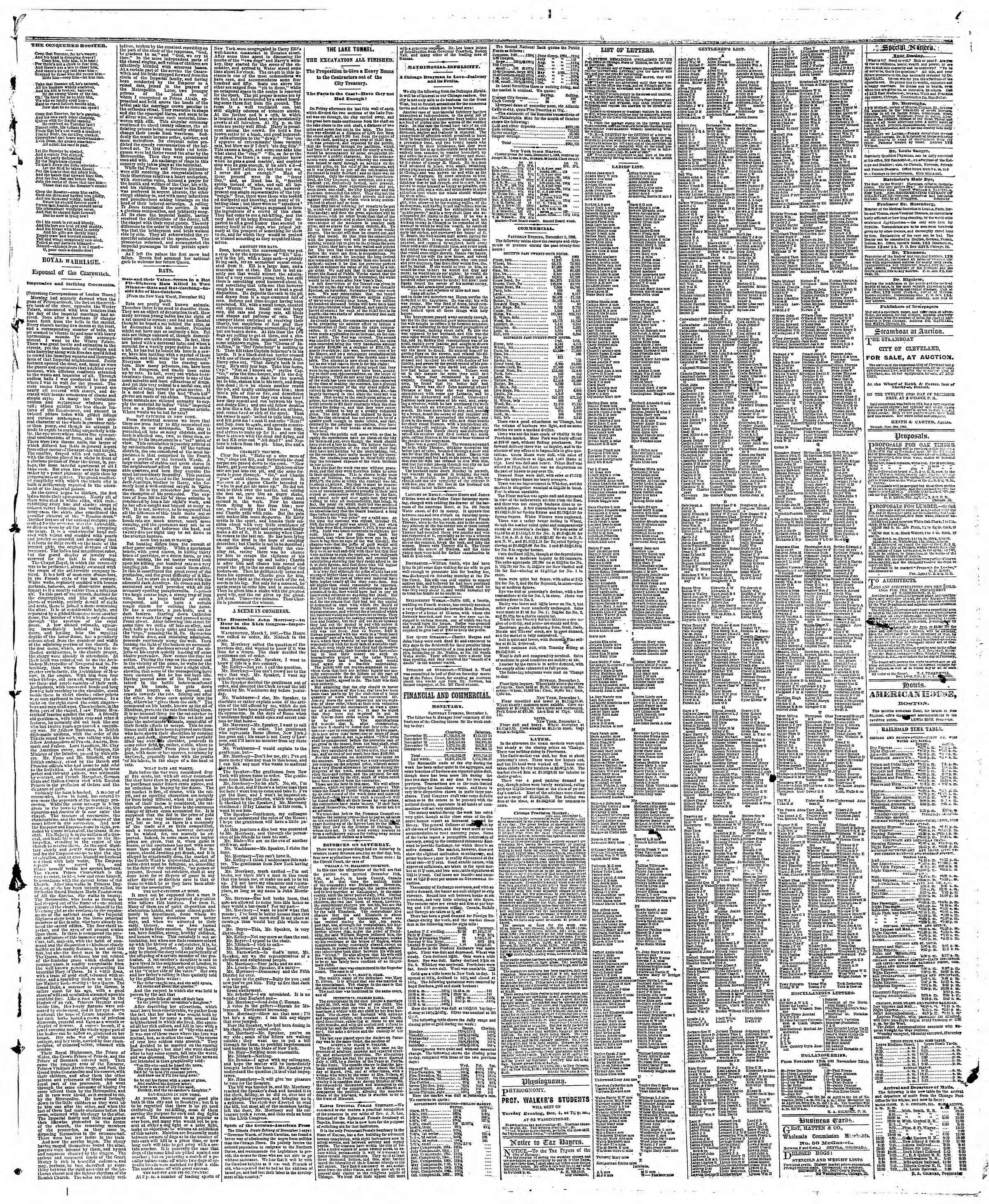 Newspaper of The Chicago Tribune dated December 2, 1866 Page 3