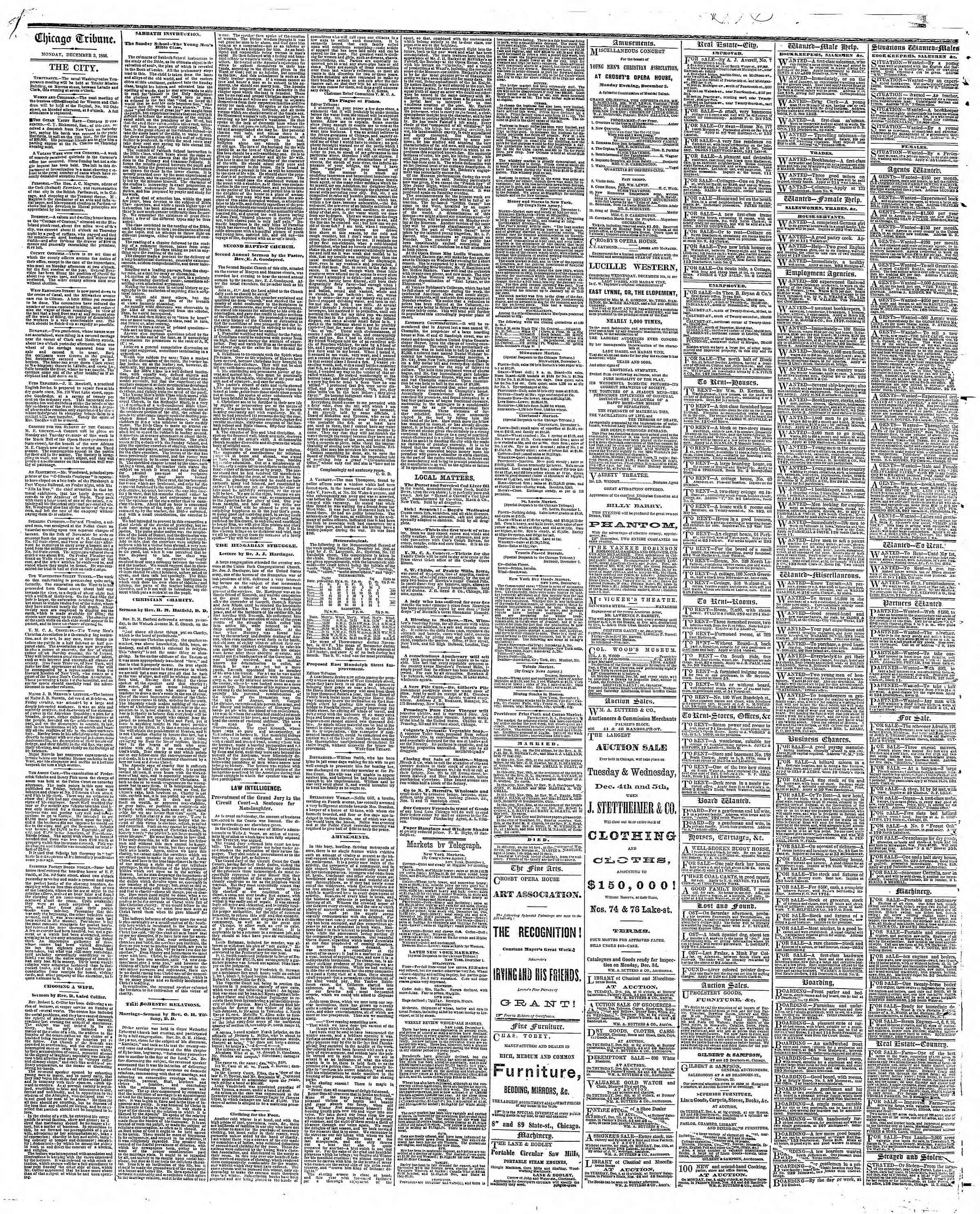 Newspaper of The Chicago Tribune dated December 3, 1866 Page 4
