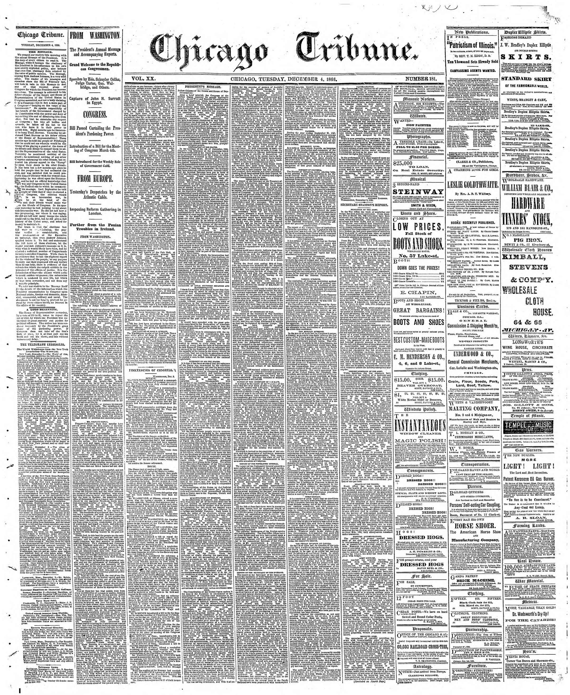 Newspaper of The Chicago Tribune dated December 4, 1866 Page 1