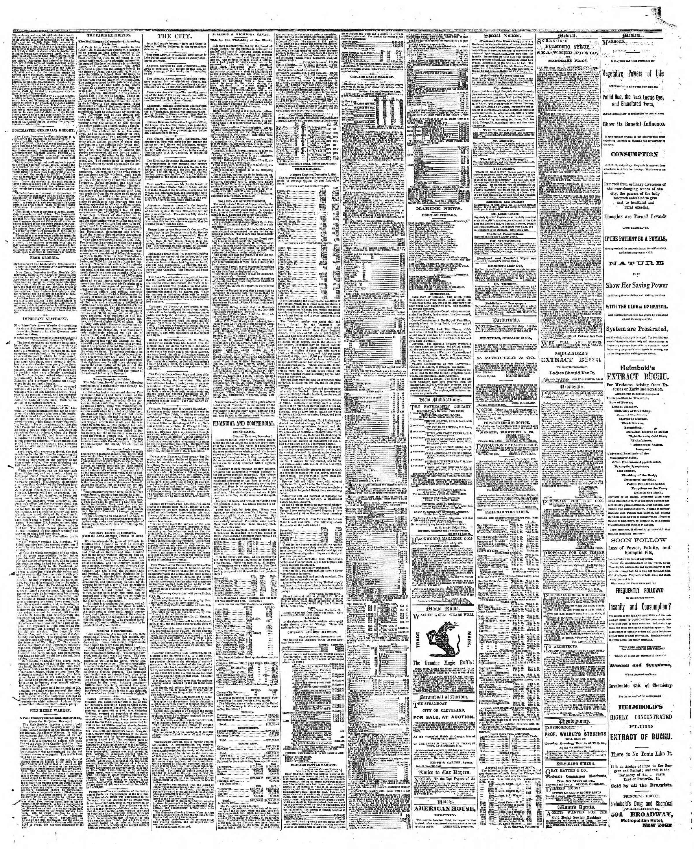 Newspaper of The Chicago Tribune dated December 4, 1866 Page 3