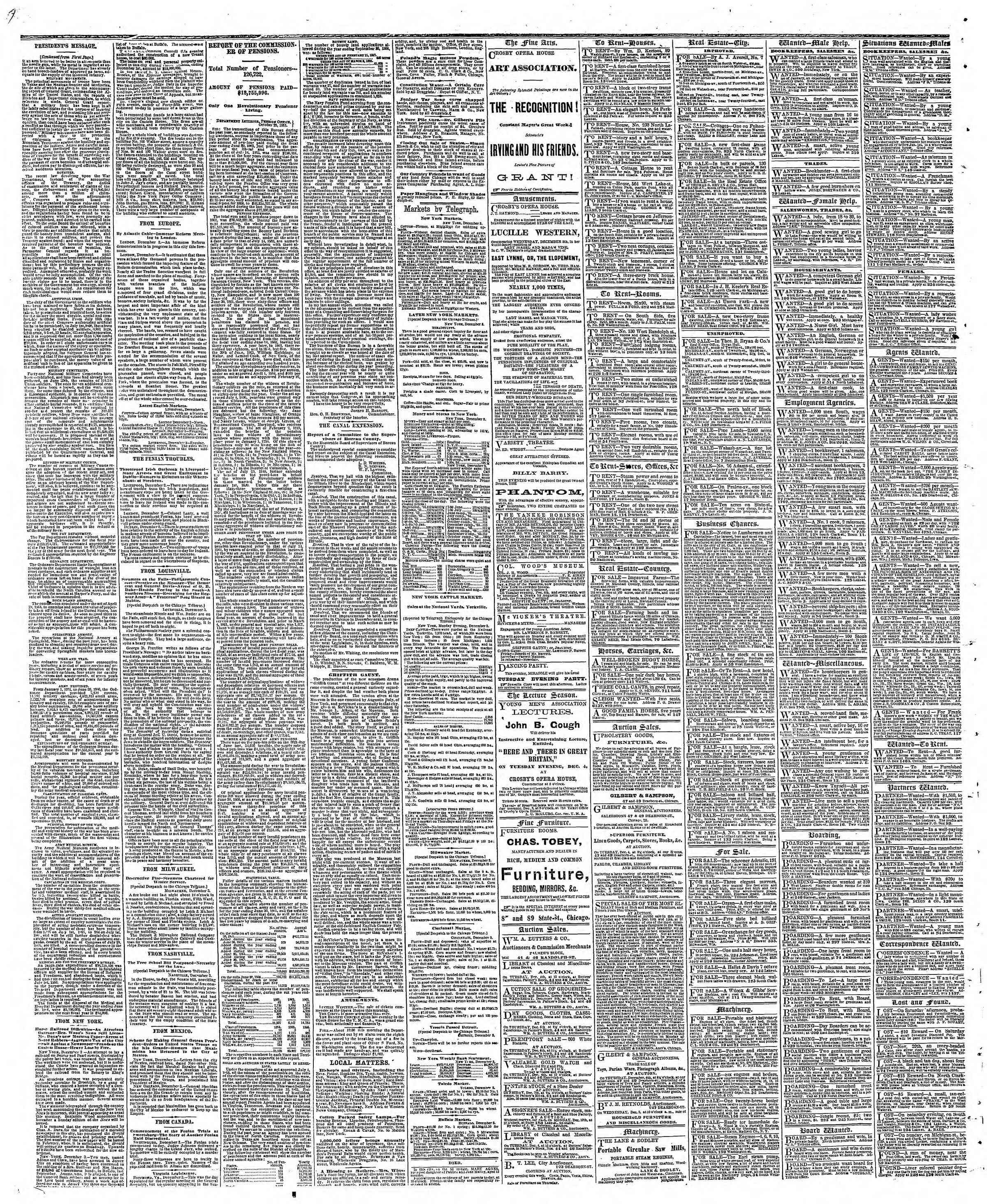 Newspaper of The Chicago Tribune dated December 4, 1866 Page 4