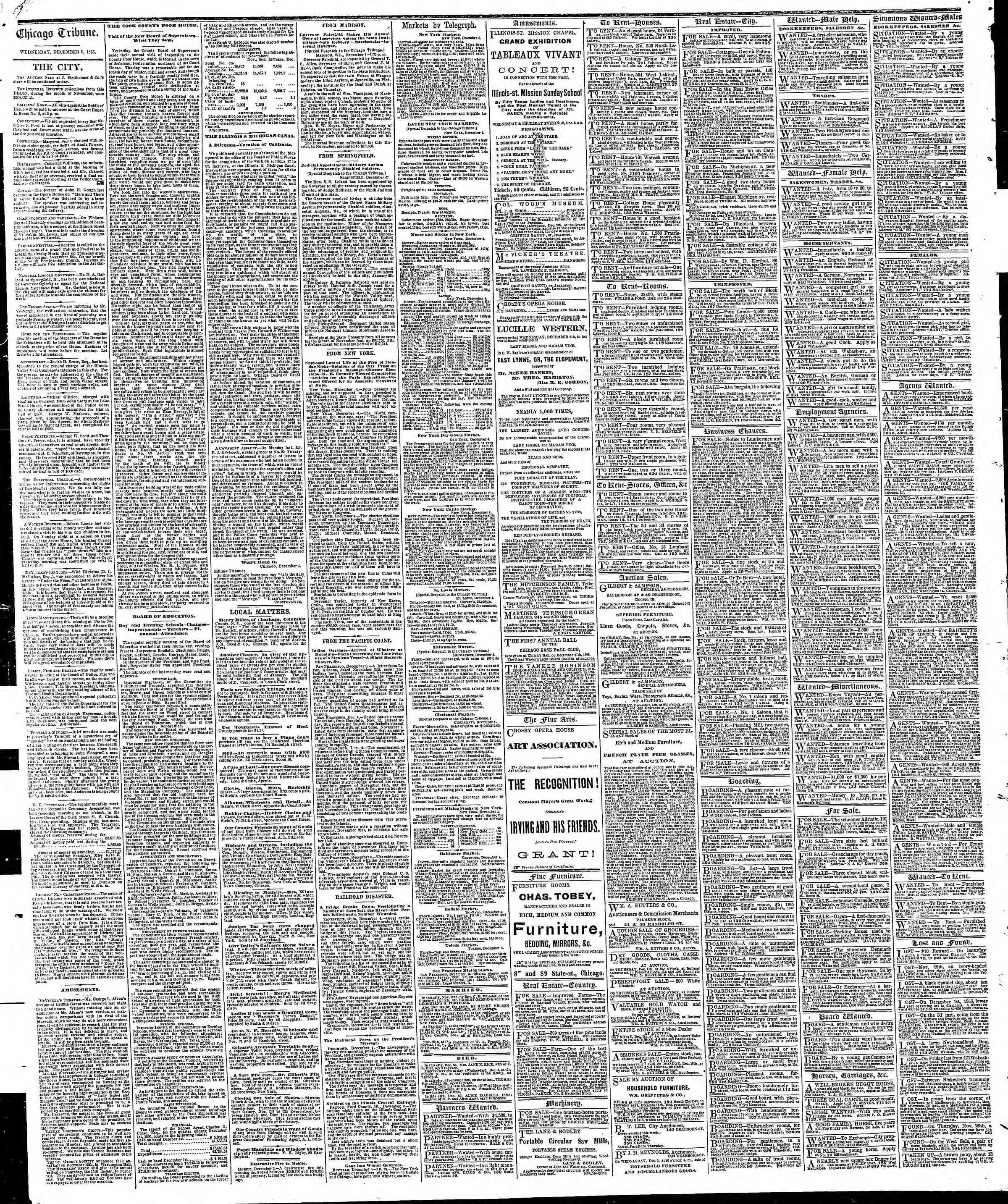 Newspaper of The Chicago Tribune dated December 5, 1866 Page 4