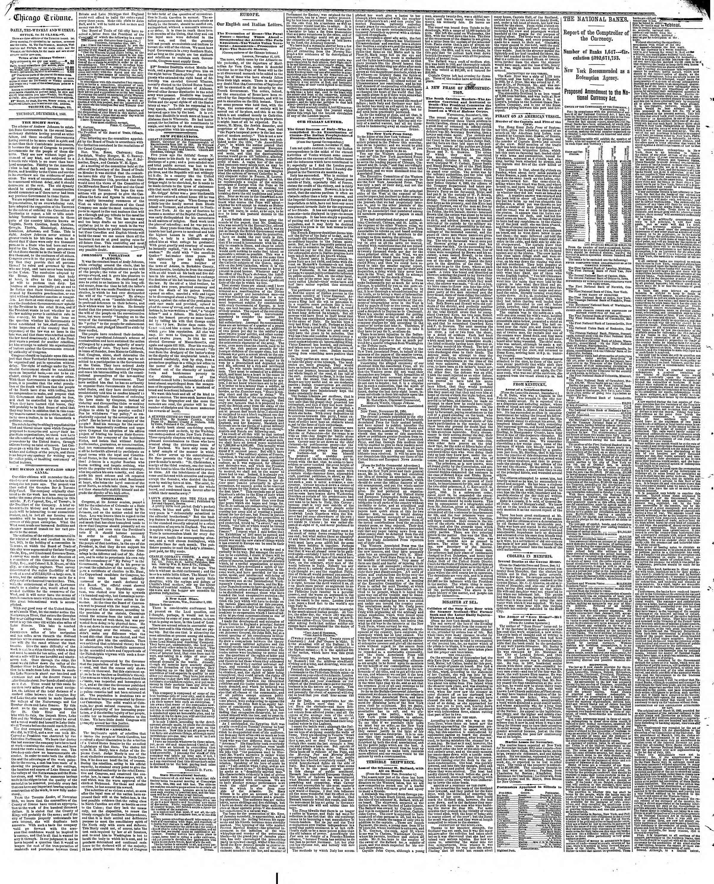 Newspaper of The Chicago Tribune dated December 6, 1866 Page 2