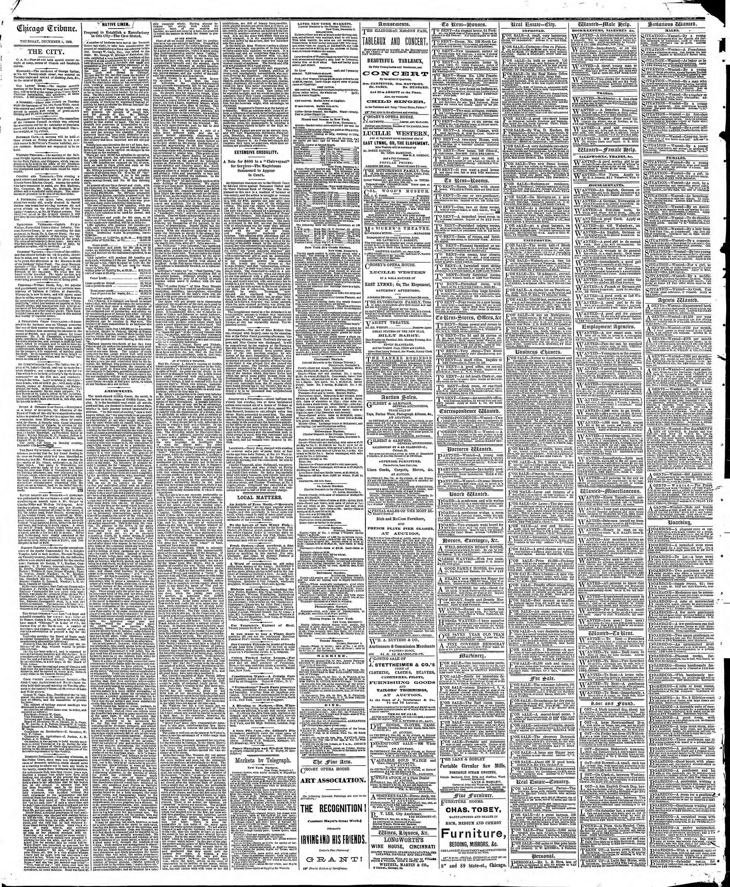 Newspaper of The Chicago Tribune dated December 6, 1866 Page 4