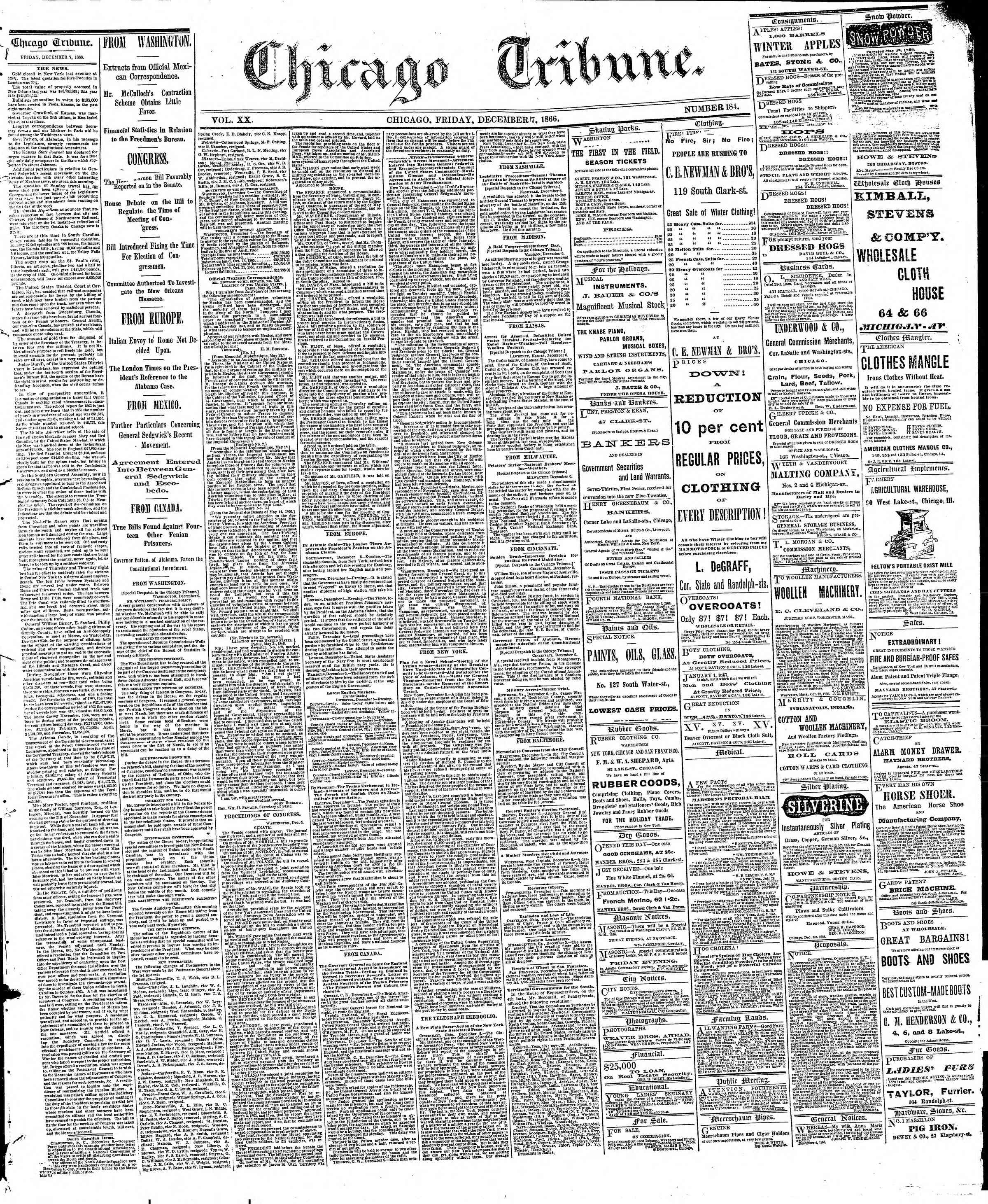 Newspaper of The Chicago Tribune dated December 7, 1866 Page 1
