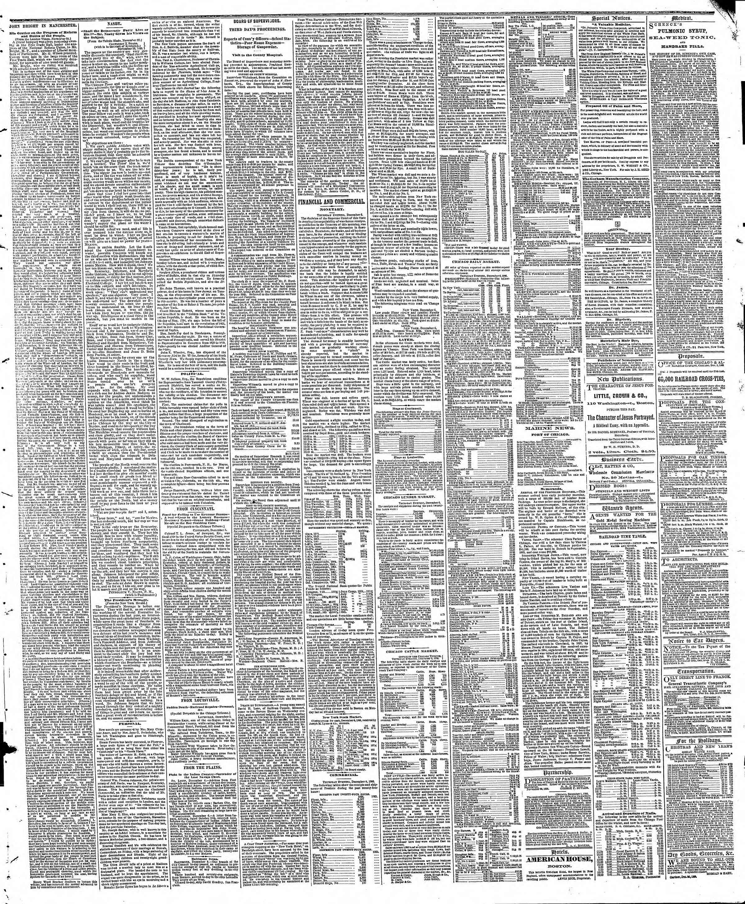 Newspaper of The Chicago Tribune dated December 7, 1866 Page 3