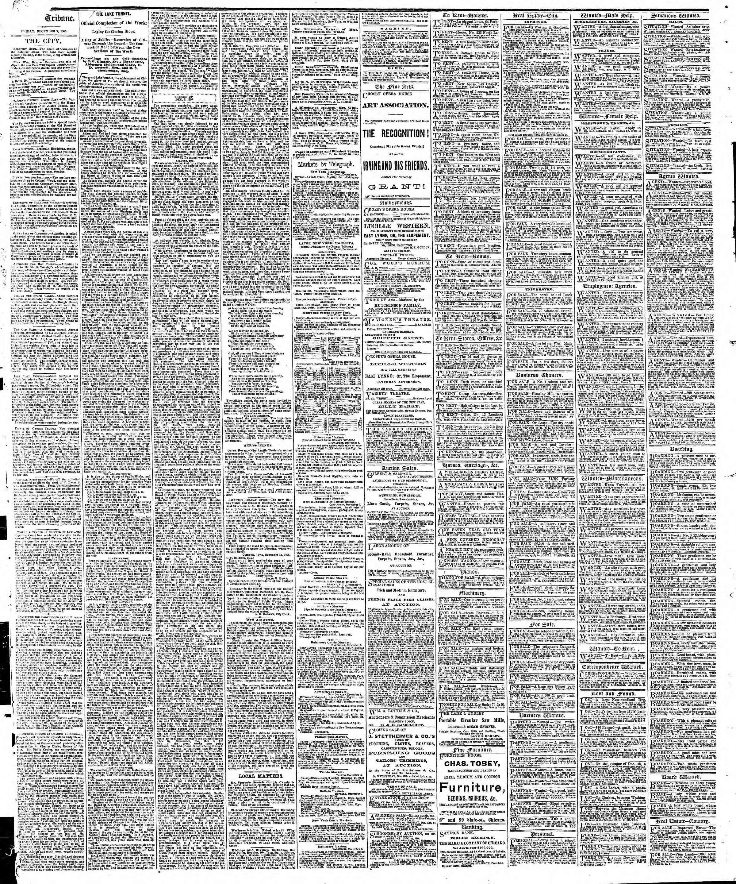 Newspaper of The Chicago Tribune dated December 7, 1866 Page 4