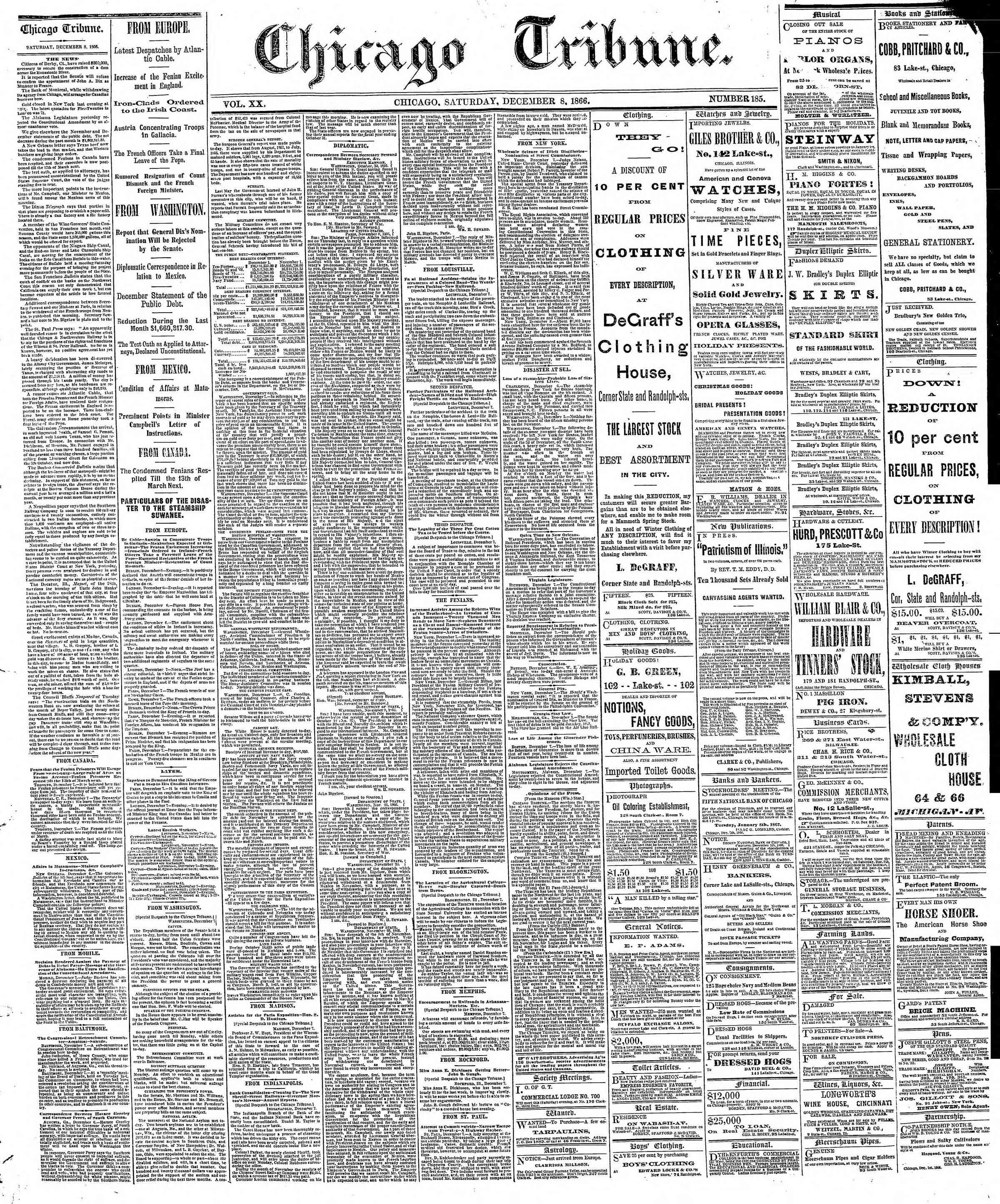 Newspaper of The Chicago Tribune dated December 8, 1866 Page 1