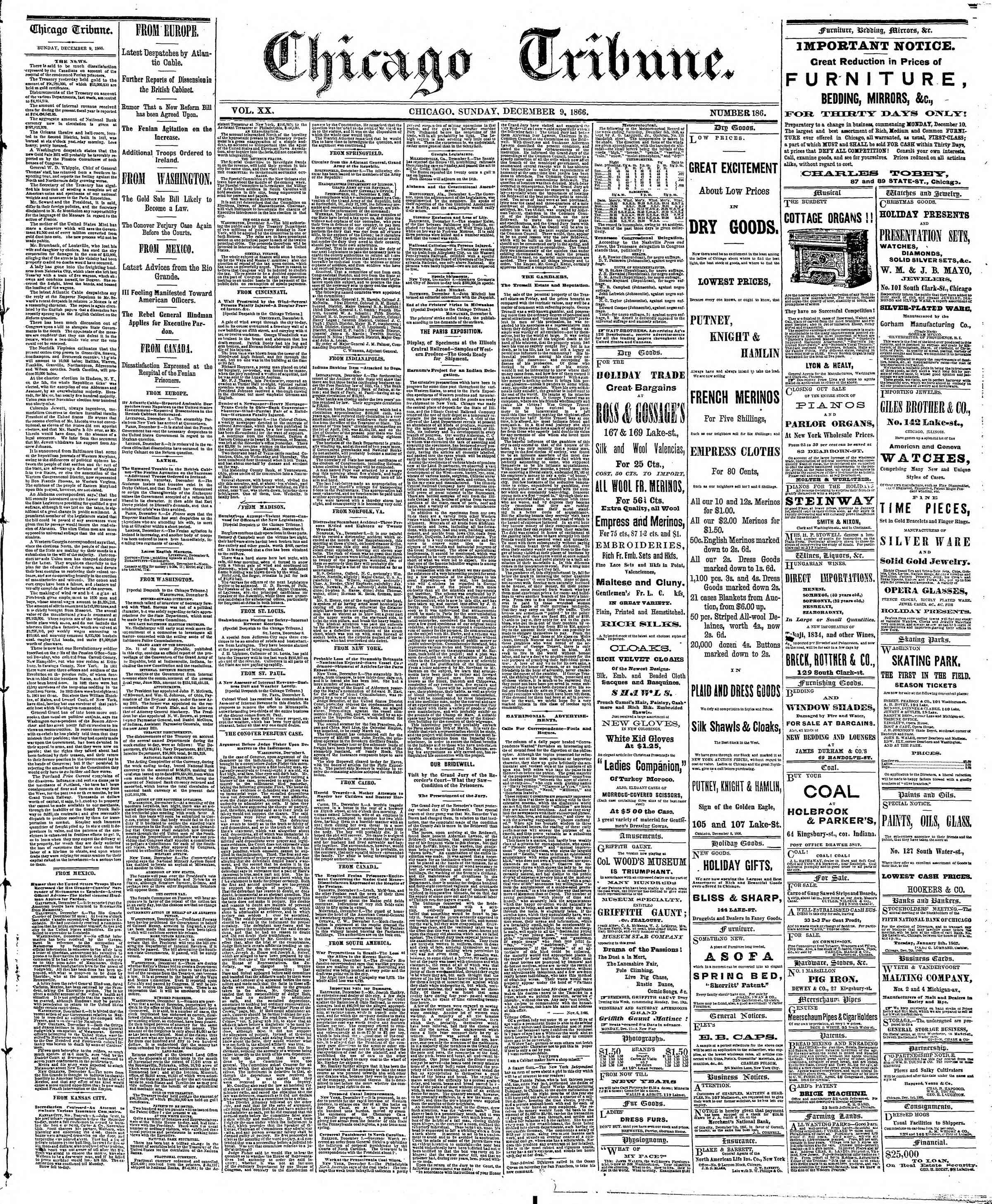 Newspaper of The Chicago Tribune dated December 9, 1866 Page 1