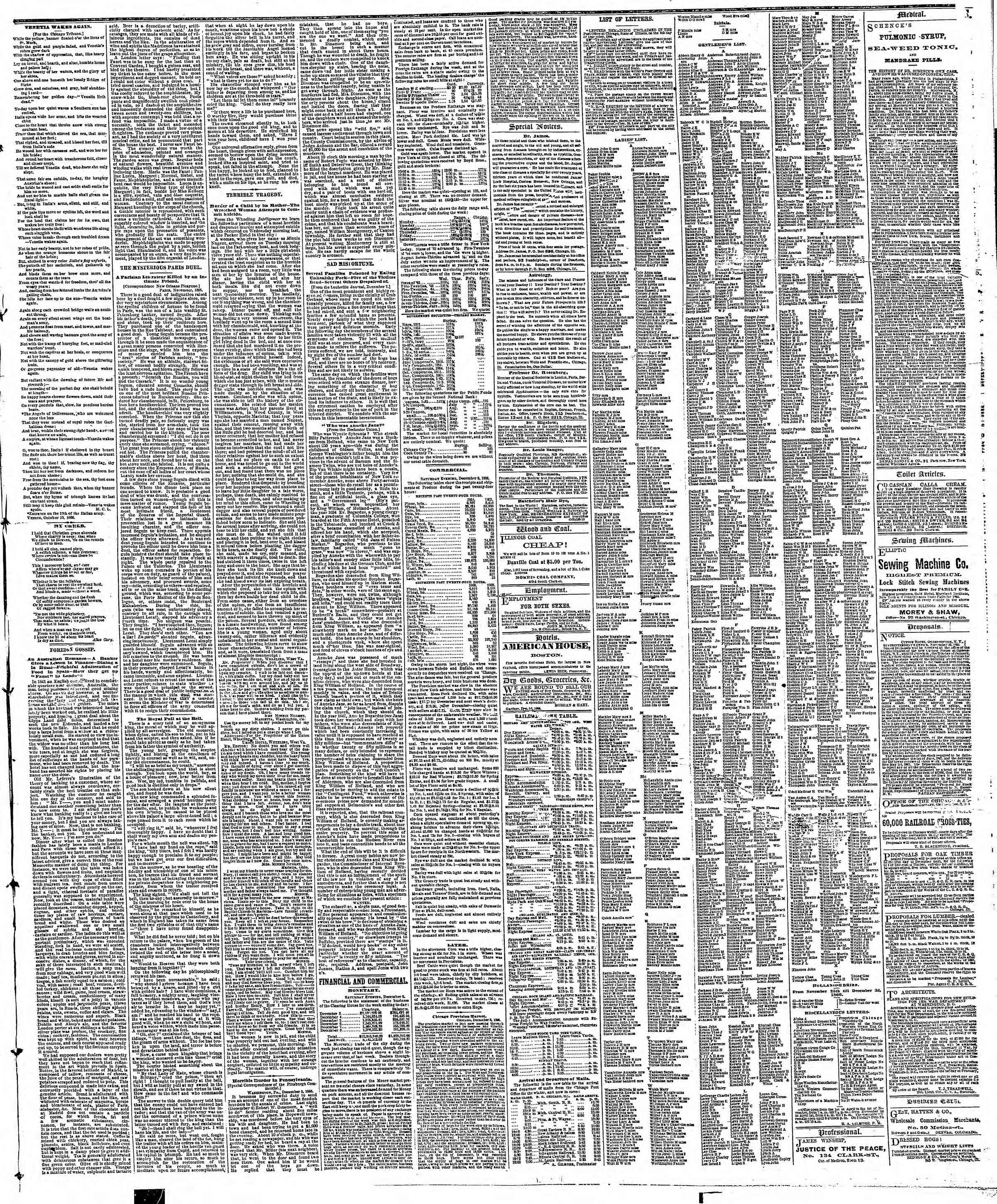 Newspaper of The Chicago Tribune dated December 9, 1866 Page 3