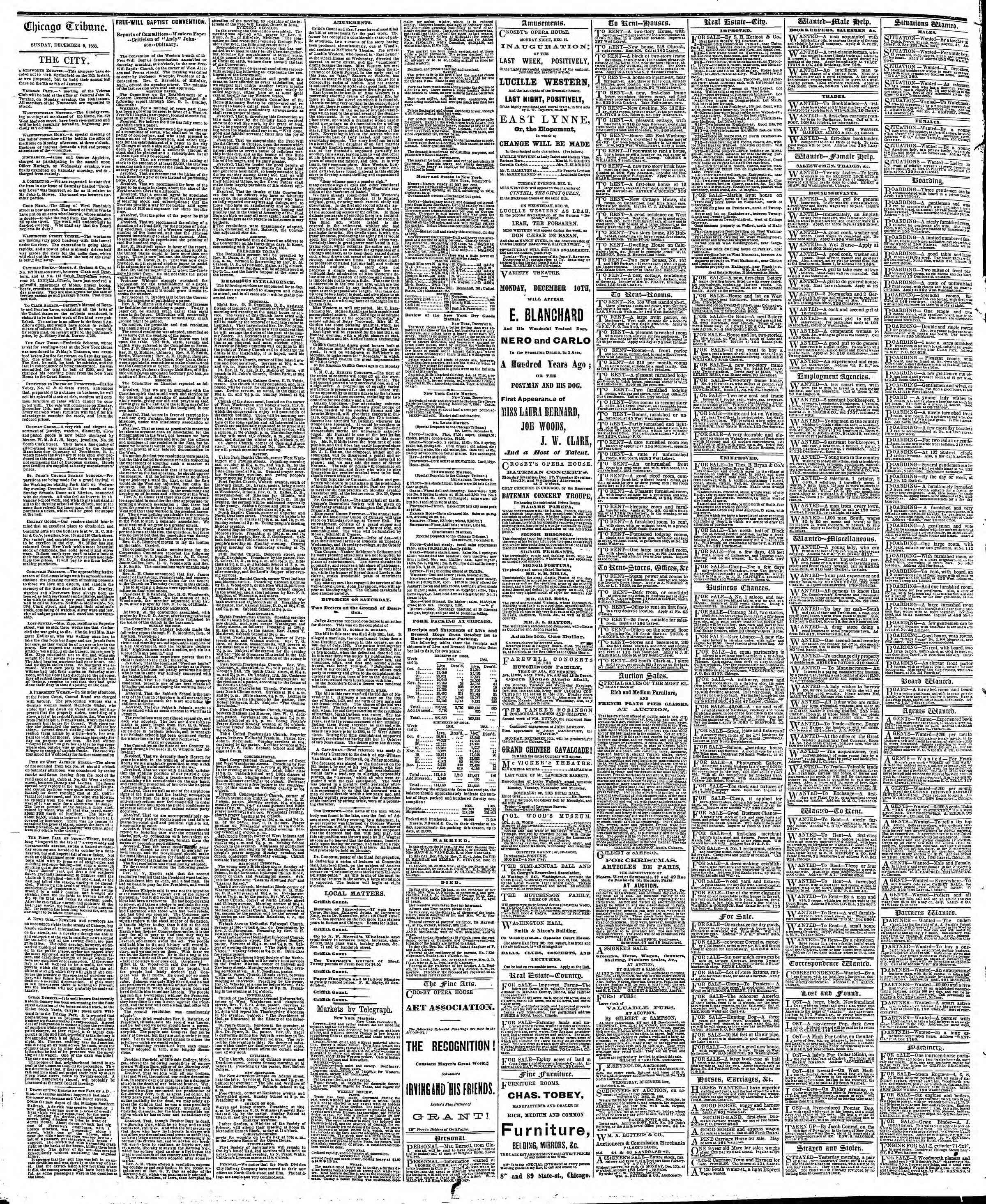 Newspaper of The Chicago Tribune dated December 9, 1866 Page 4