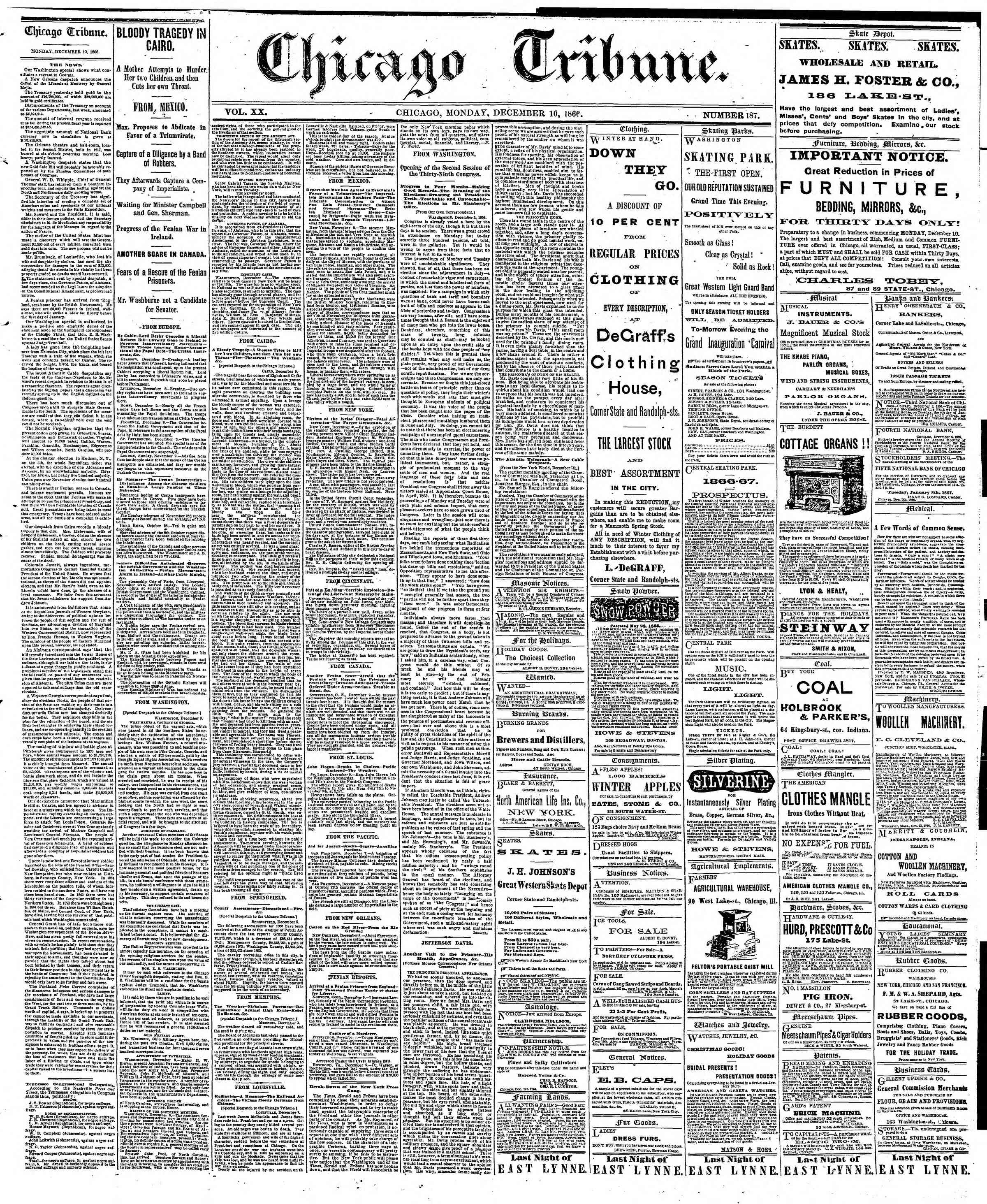 Newspaper of The Chicago Tribune dated December 10, 1866 Page 1