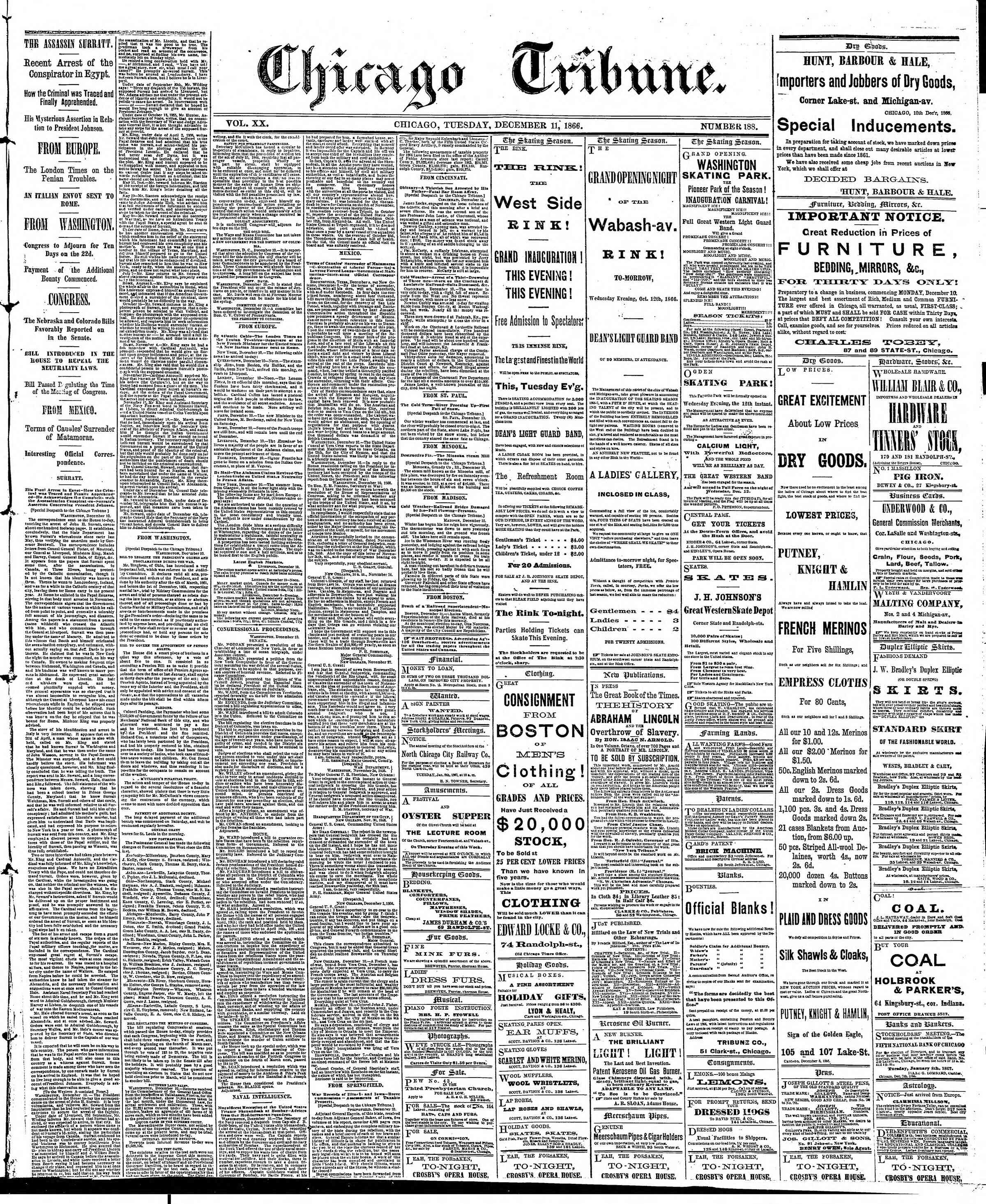 Newspaper of The Chicago Tribune dated December 11, 1866 Page 1