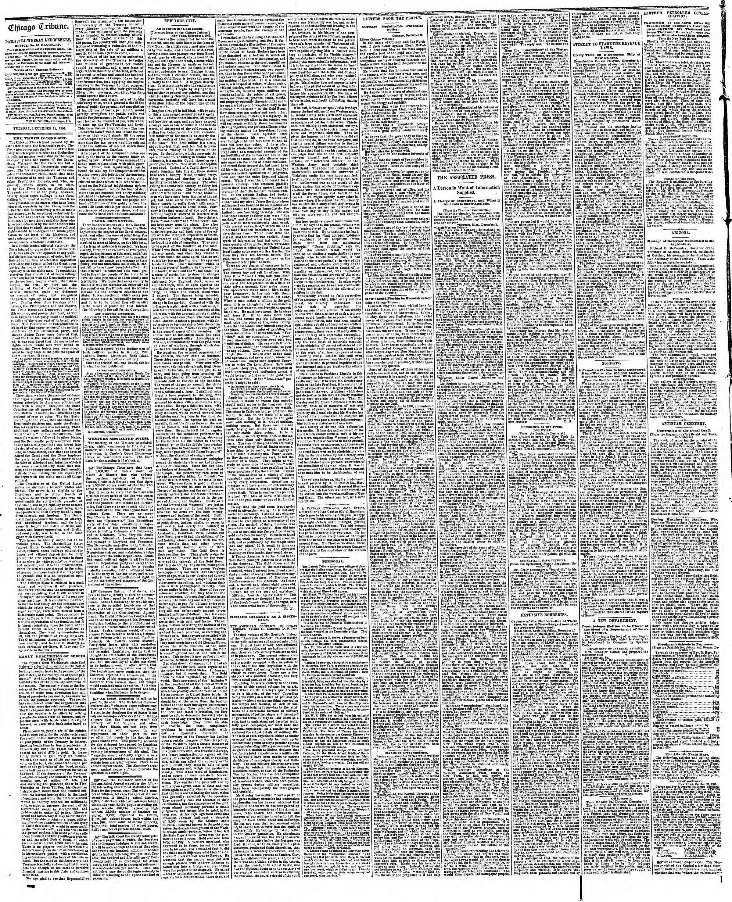Newspaper of The Chicago Tribune dated December 11, 1866 Page 2