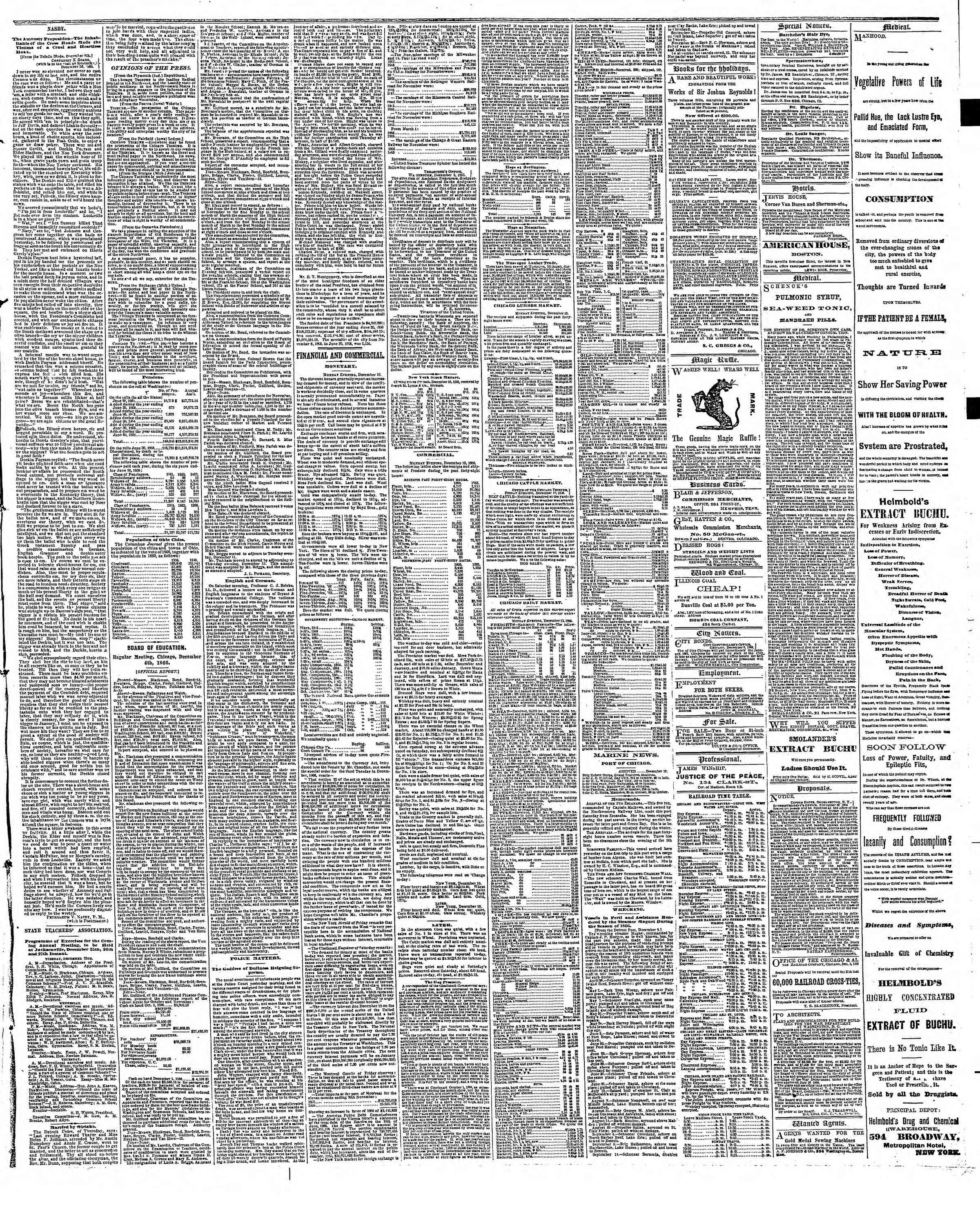 Newspaper of The Chicago Tribune dated December 11, 1866 Page 3