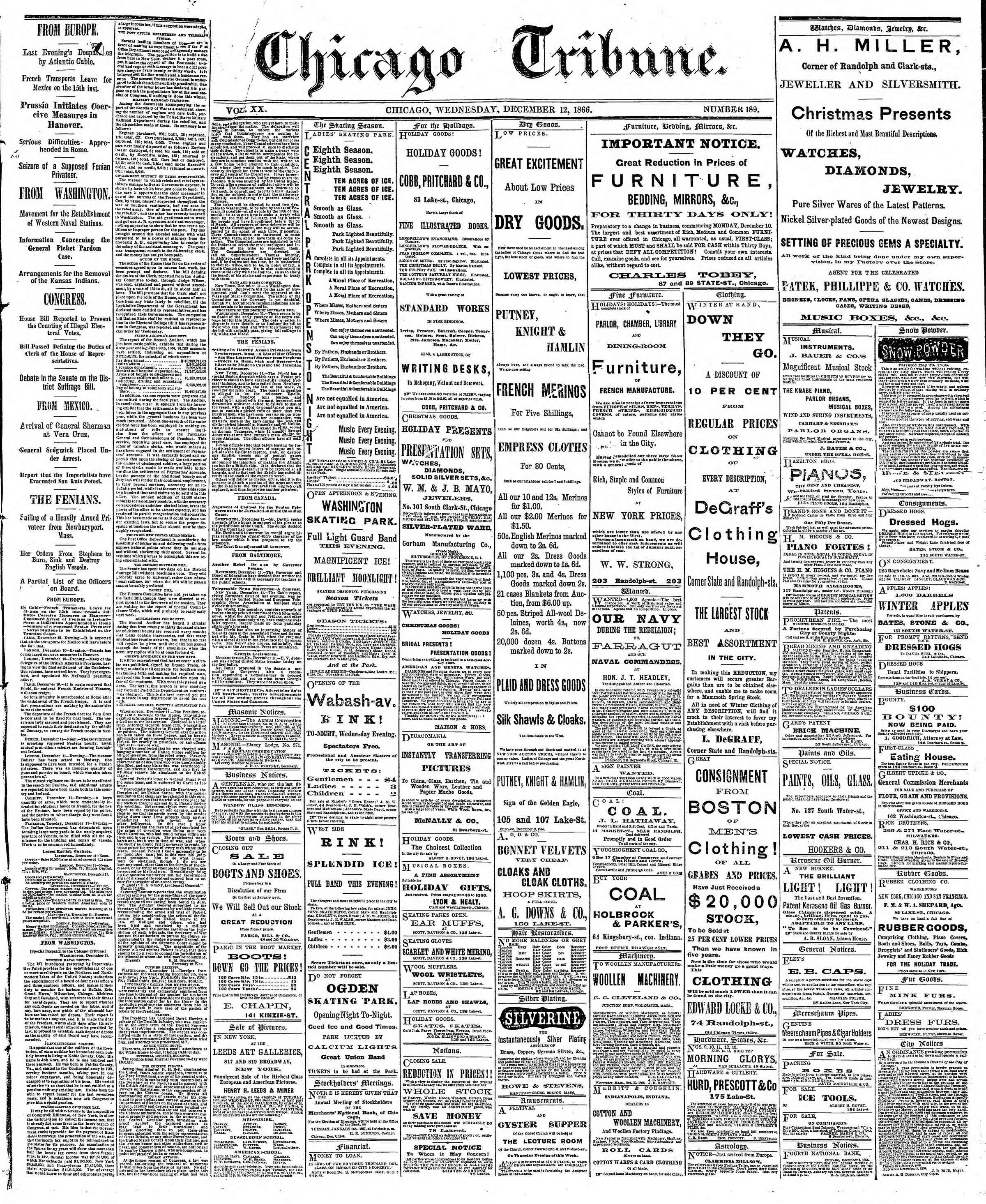 Newspaper of The Chicago Tribune dated December 12, 1866 Page 1