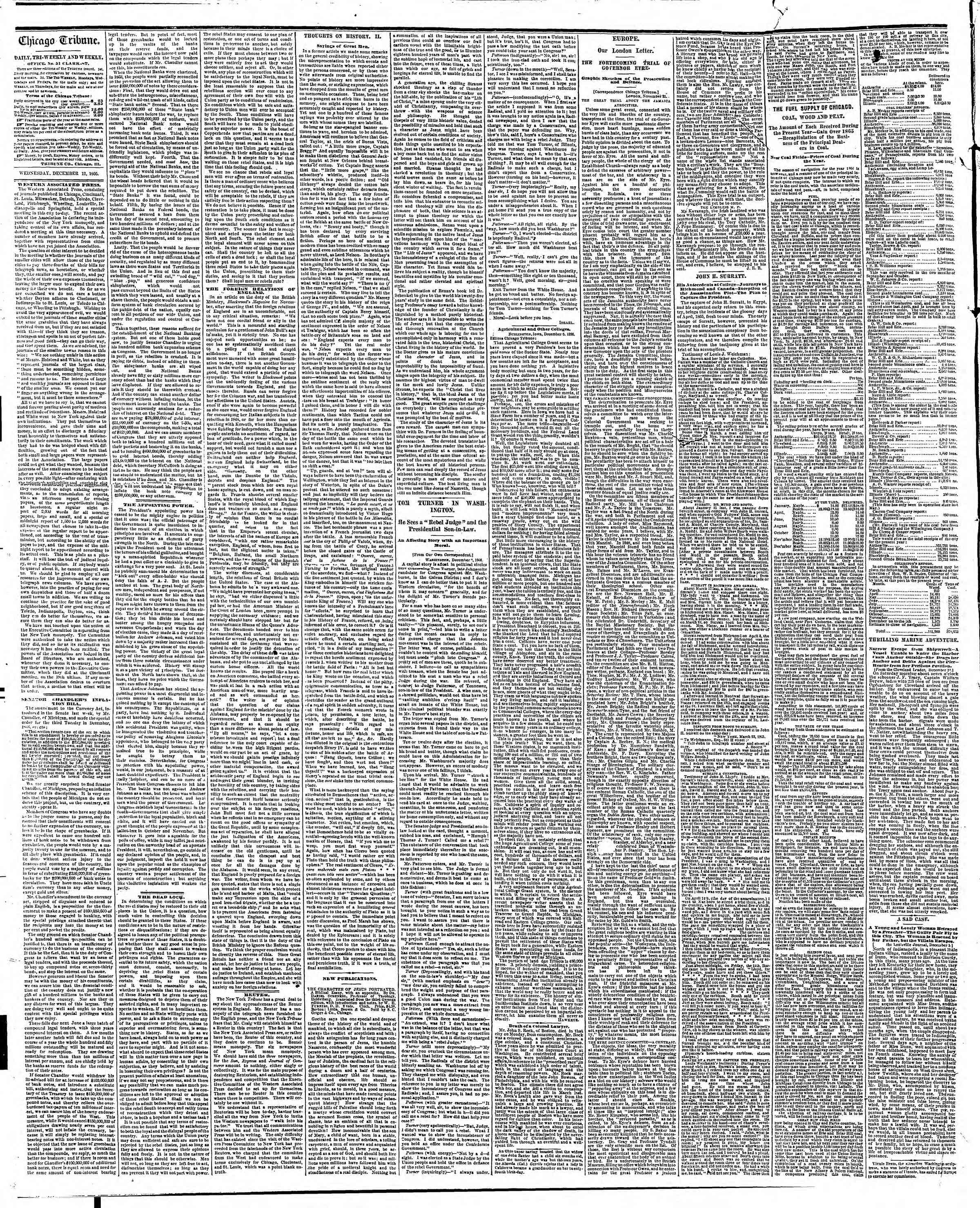 Newspaper of The Chicago Tribune dated December 12, 1866 Page 2