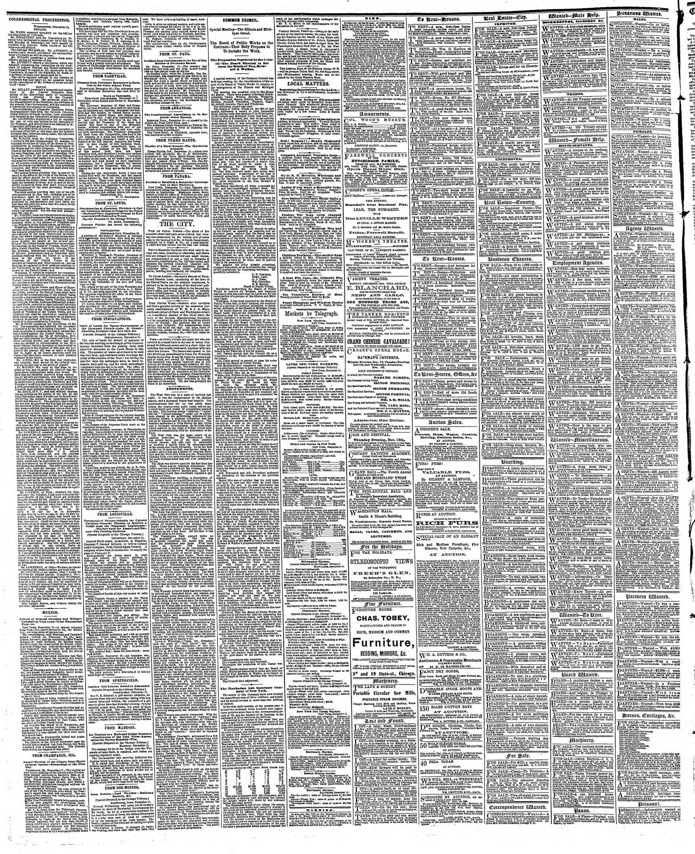 Newspaper of The Chicago Tribune dated December 12, 1866 Page 4