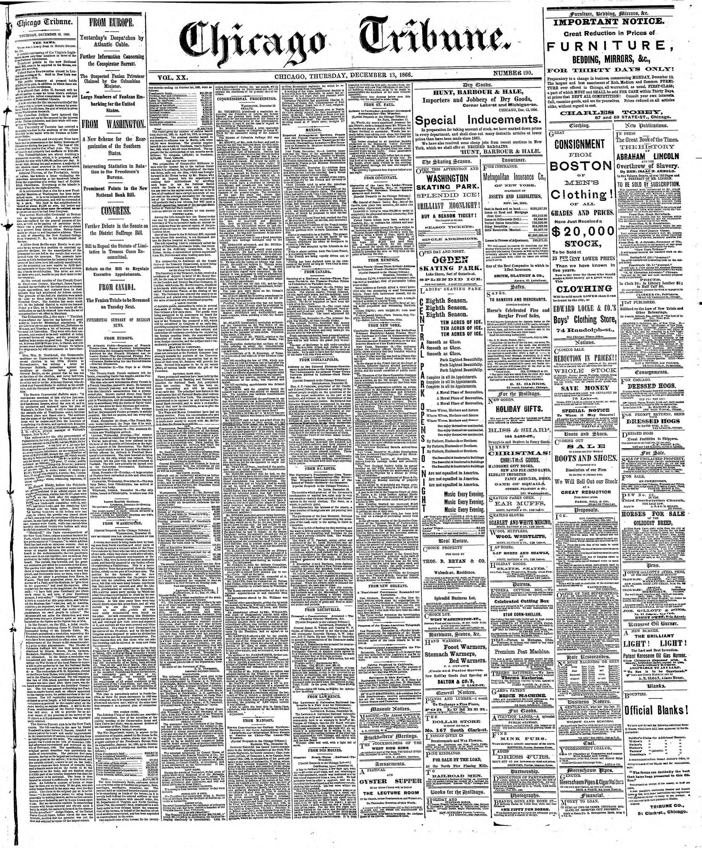 Newspaper of The Chicago Tribune dated December 13, 1866 Page 1