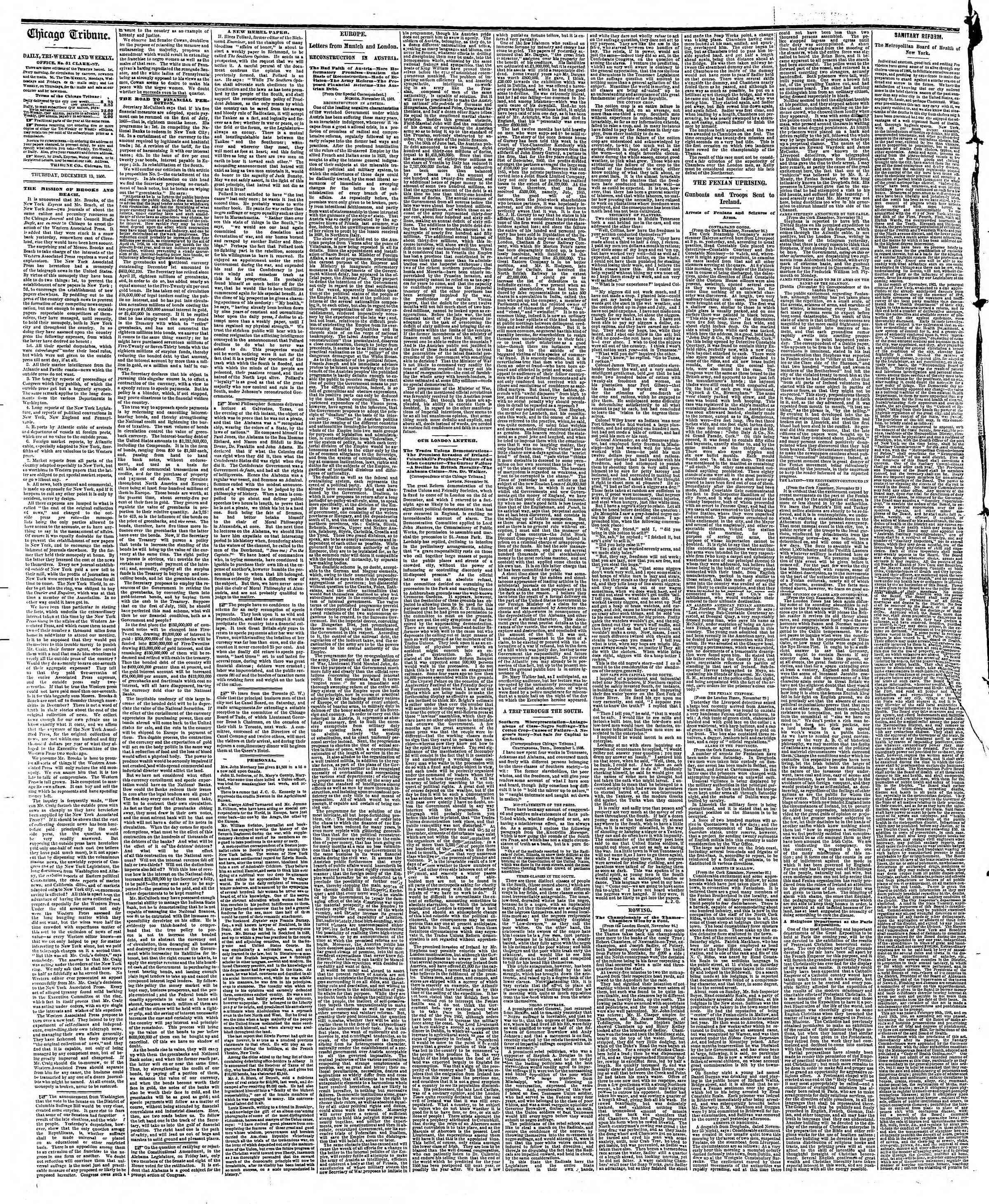 Newspaper of The Chicago Tribune dated December 13, 1866 Page 2