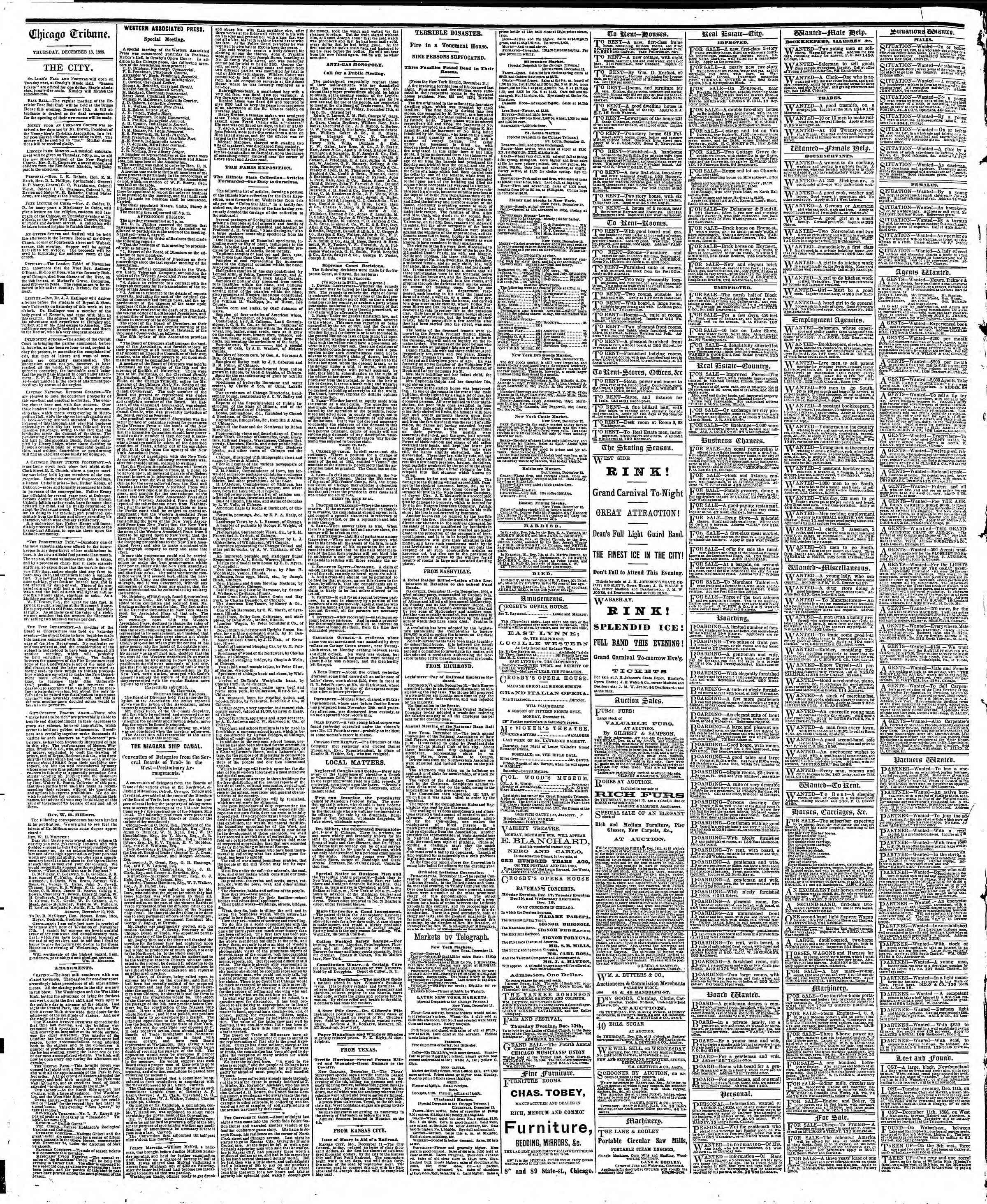 Newspaper of The Chicago Tribune dated December 13, 1866 Page 4