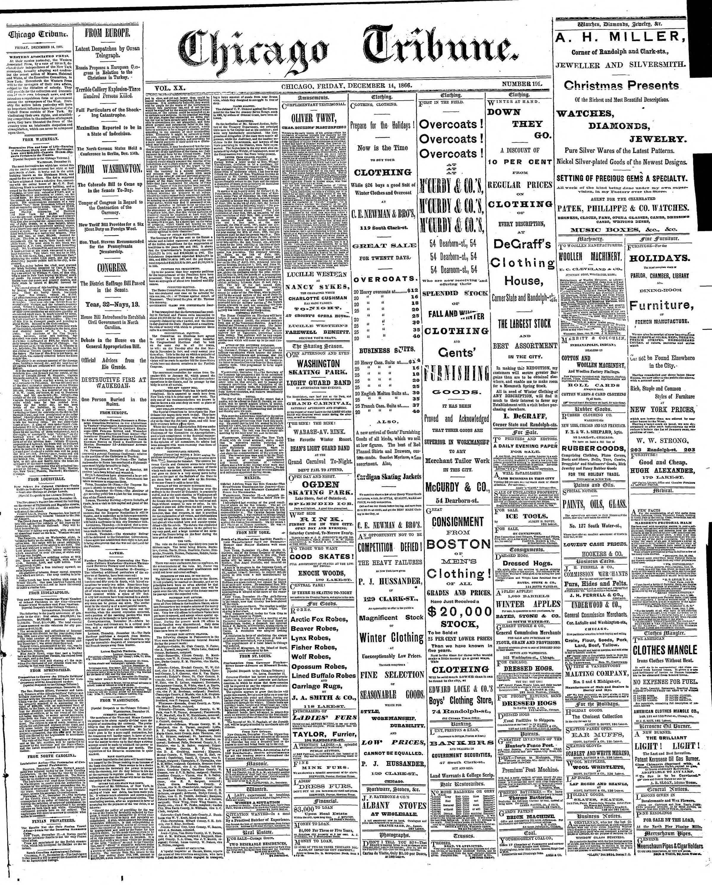 Newspaper of The Chicago Tribune dated December 14, 1866 Page 1