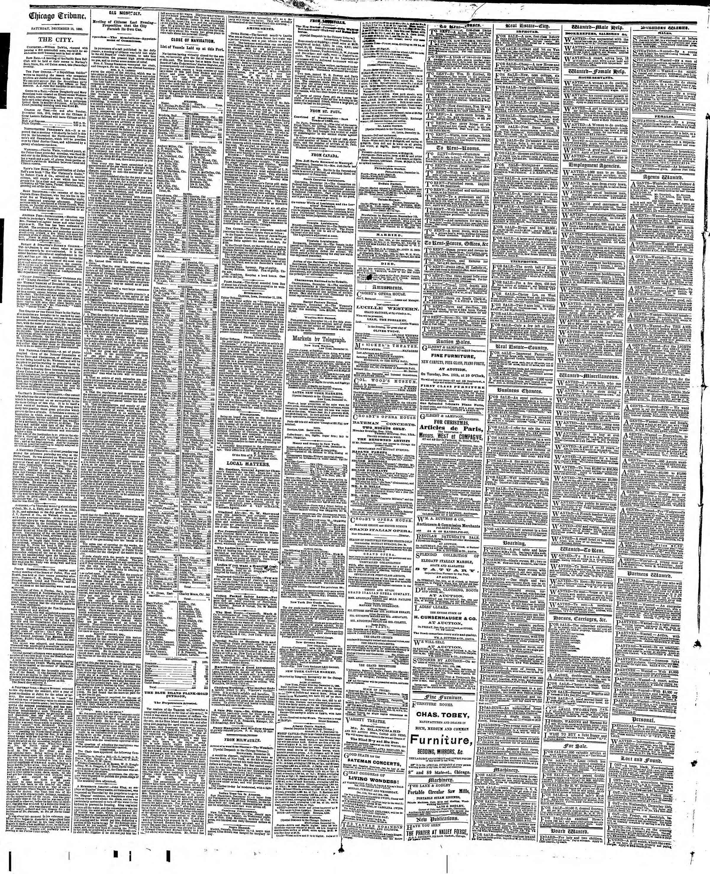 Newspaper of The Chicago Tribune dated December 15, 1866 Page 4