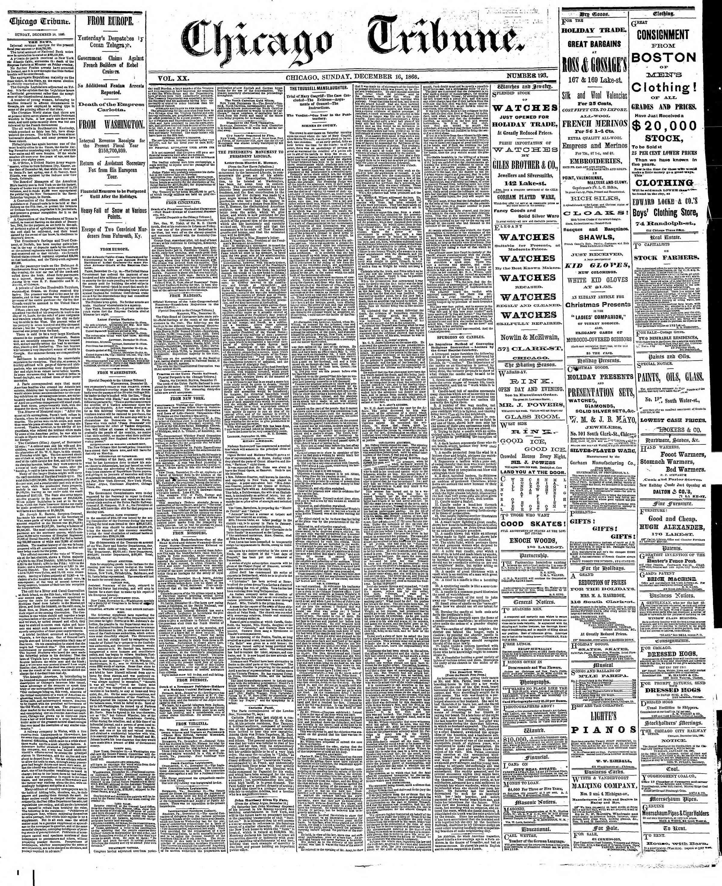 Newspaper of The Chicago Tribune dated December 16, 1866 Page 1
