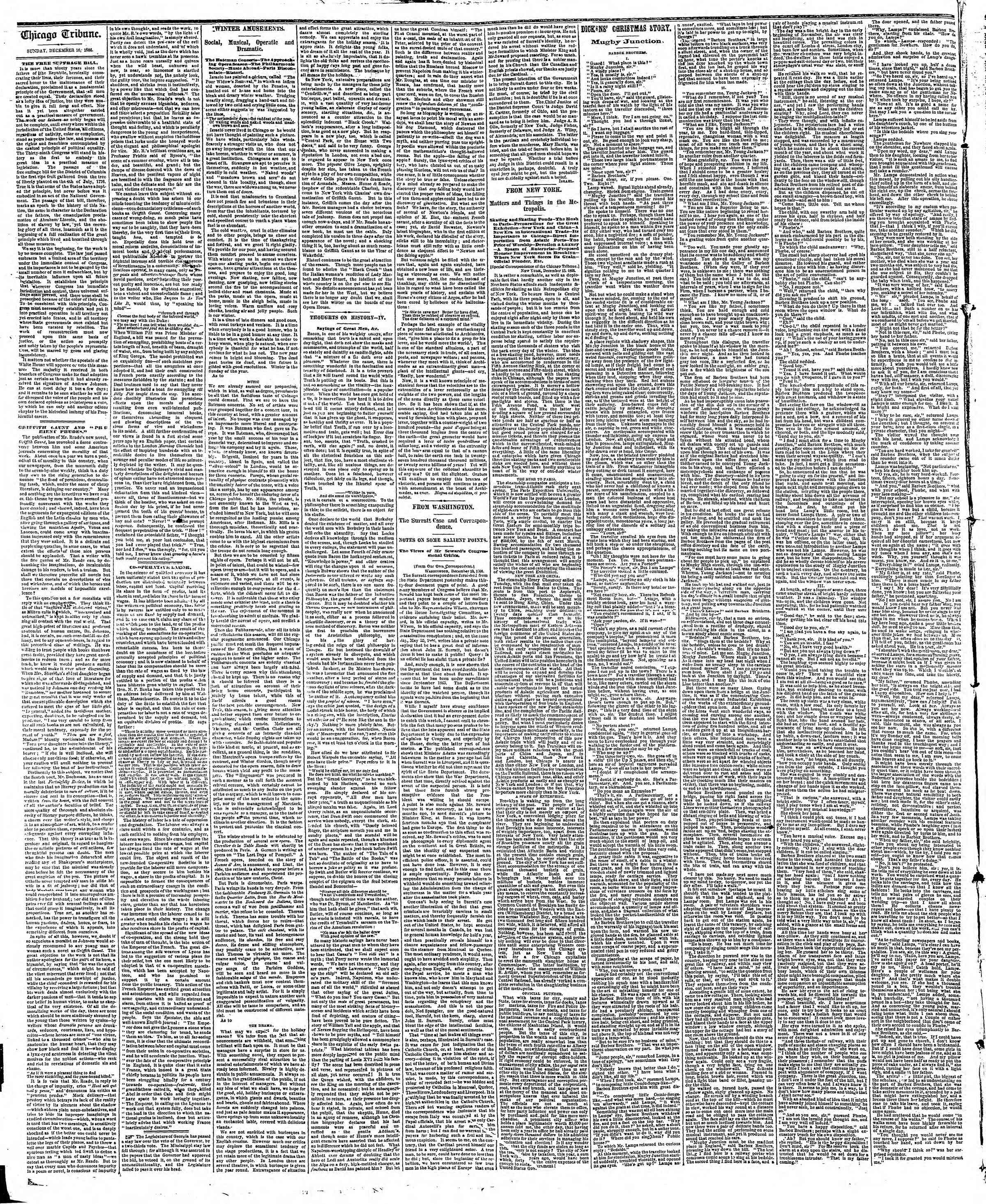 Newspaper of The Chicago Tribune dated December 16, 1866 Page 2