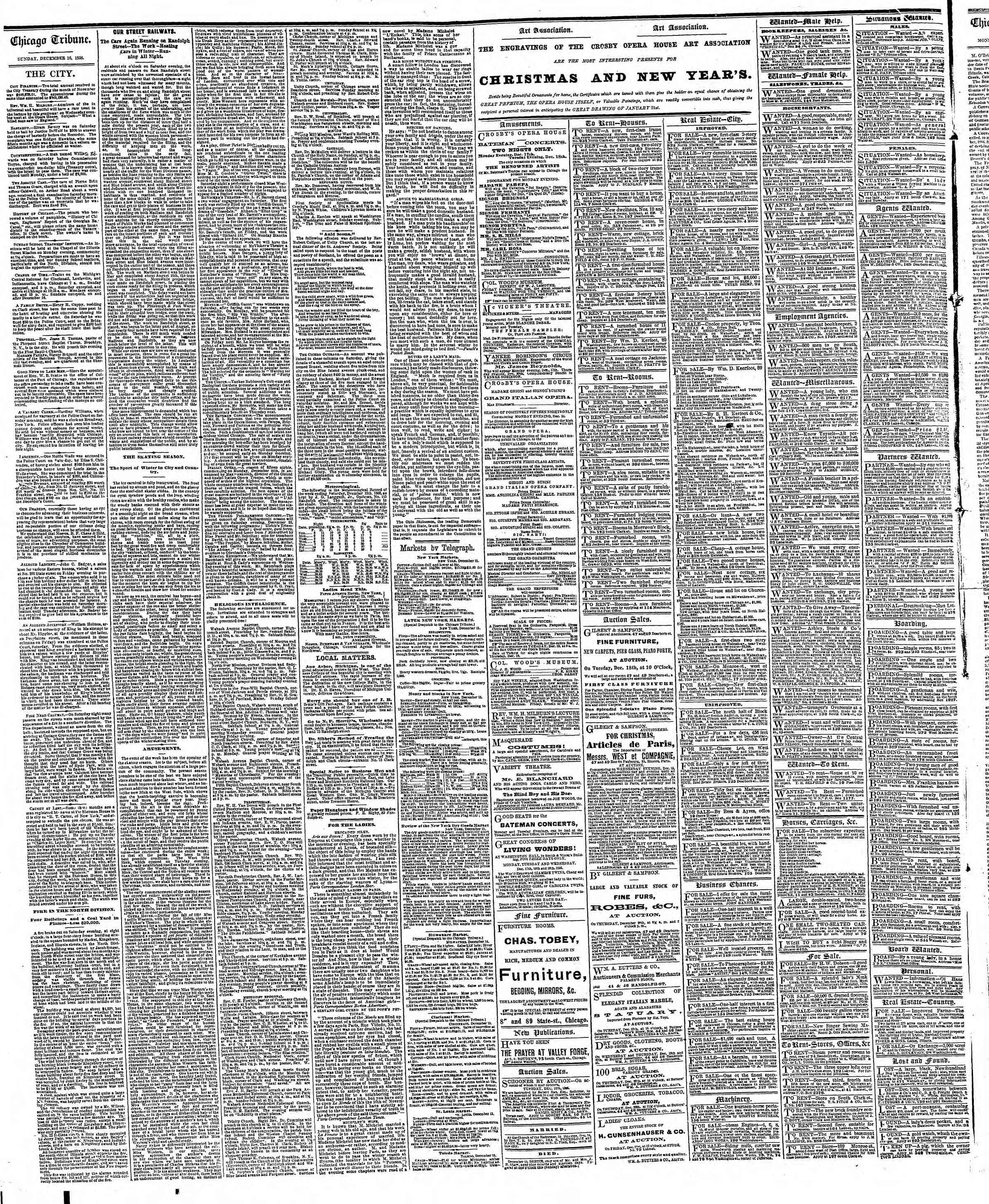 Newspaper of The Chicago Tribune dated December 16, 1866 Page 4