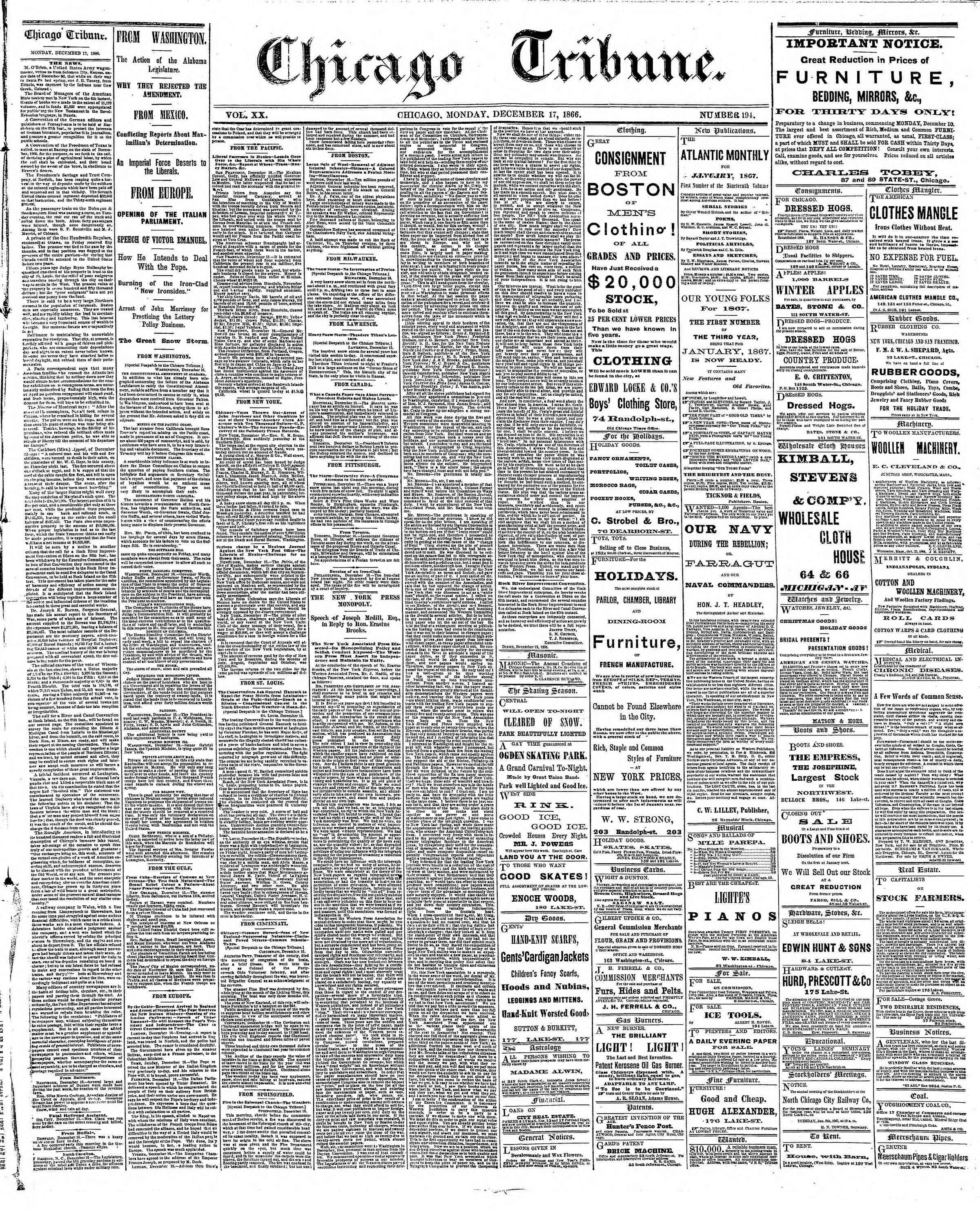 Newspaper of The Chicago Tribune dated December 17, 1866 Page 1