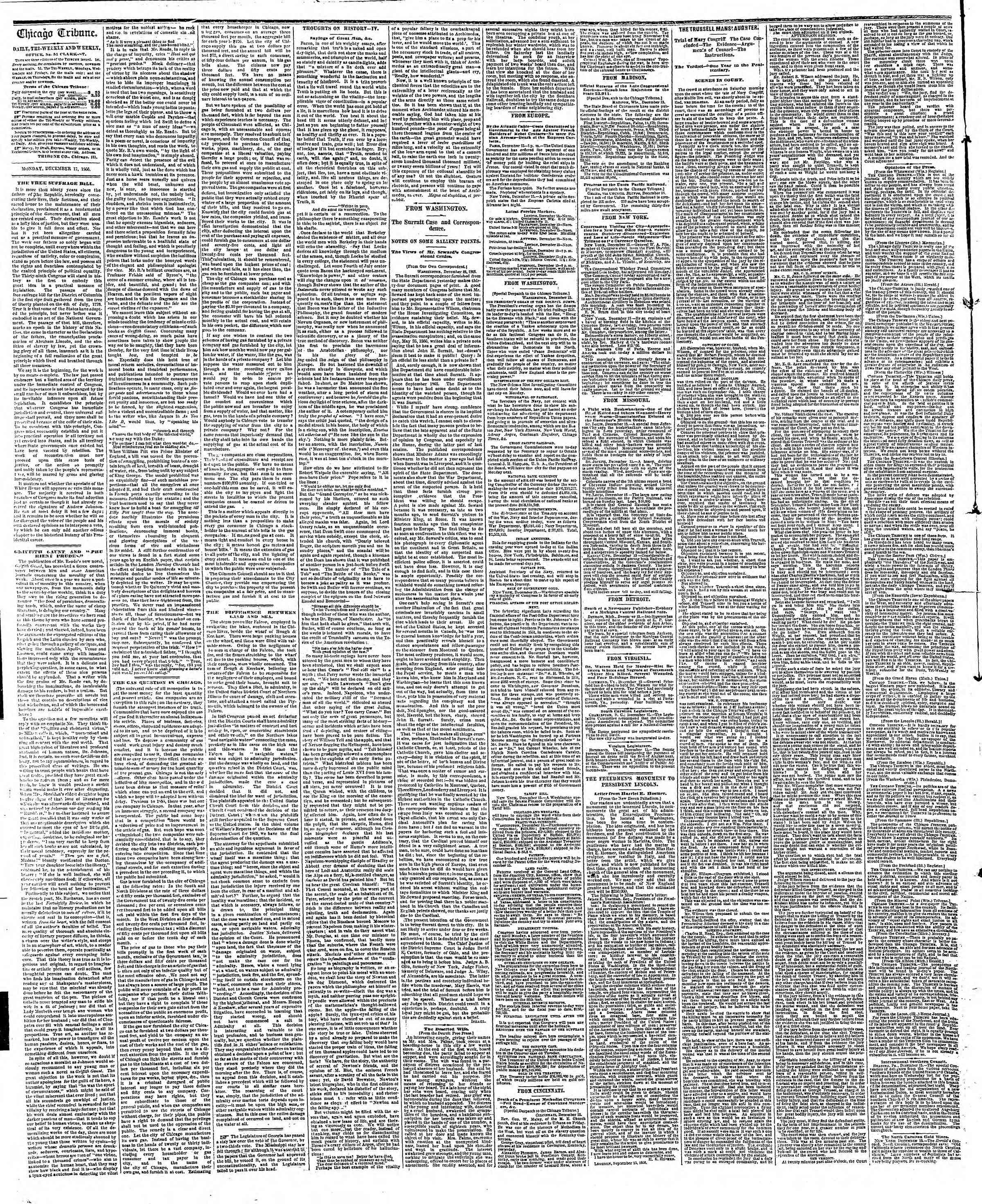 Newspaper of The Chicago Tribune dated December 17, 1866 Page 2