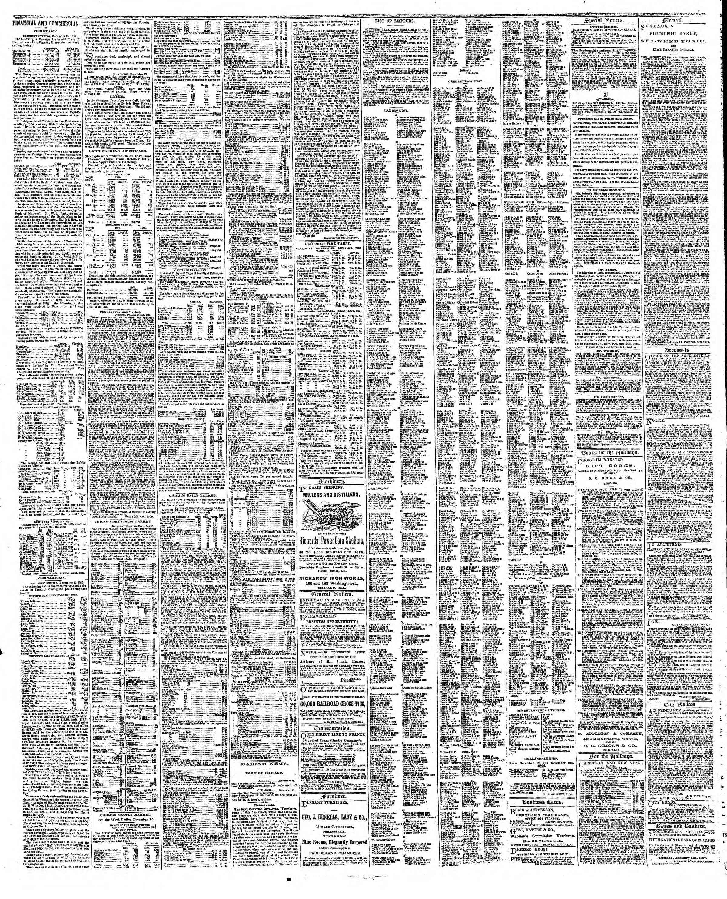 Newspaper of The Chicago Tribune dated December 17, 1866 Page 3