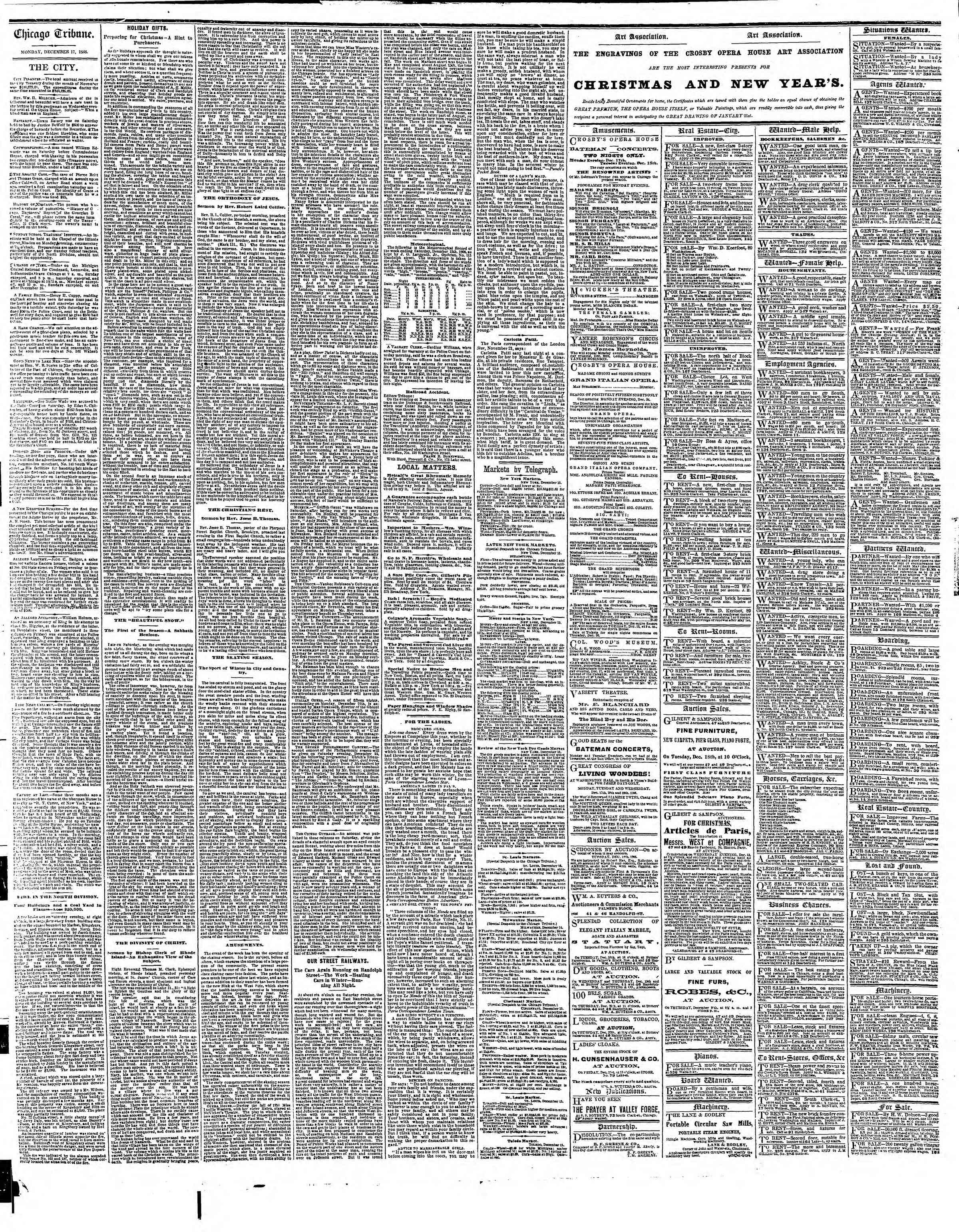 Newspaper of The Chicago Tribune dated December 17, 1866 Page 4
