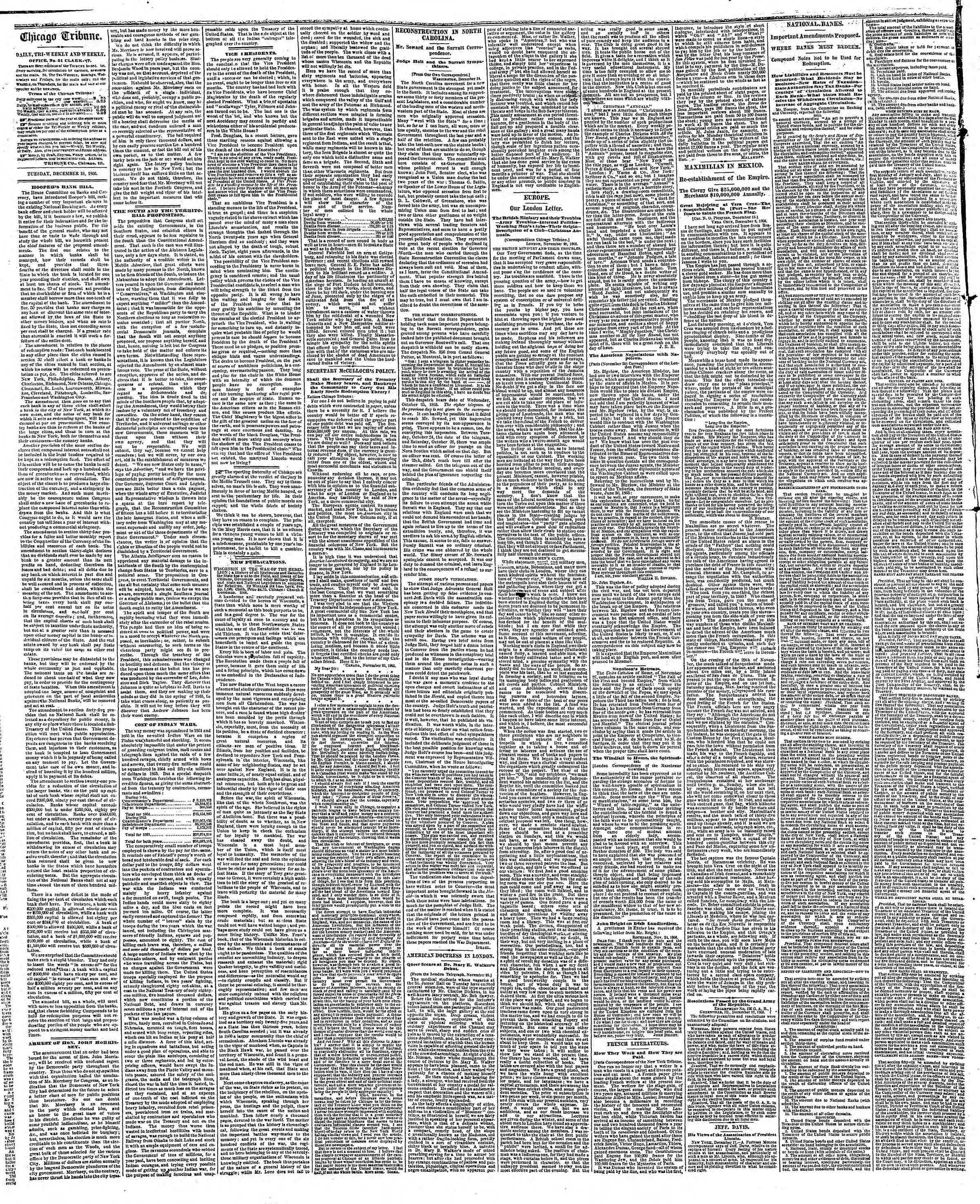 Newspaper of The Chicago Tribune dated December 18, 1866 Page 2