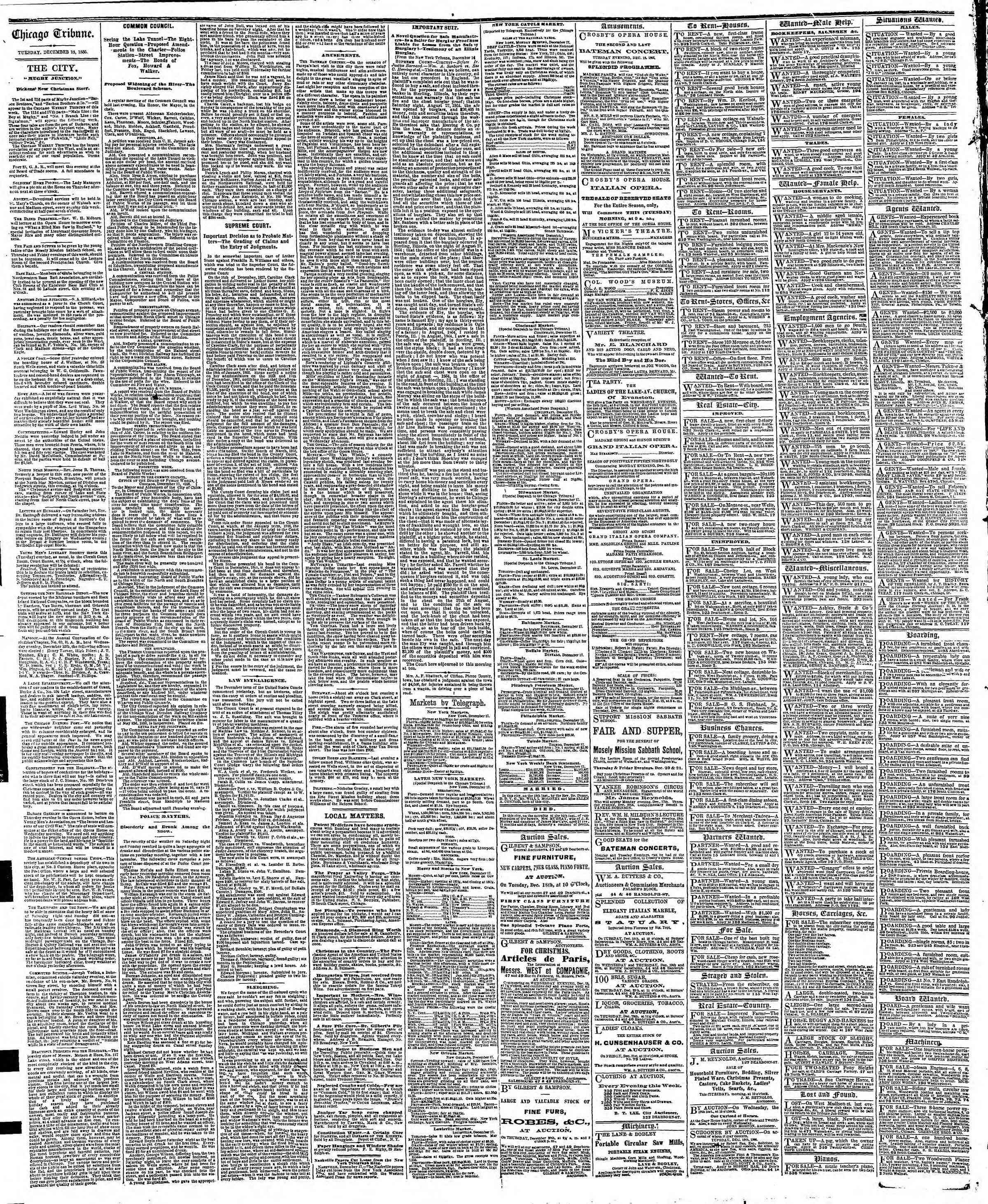 Newspaper of The Chicago Tribune dated December 18, 1866 Page 4