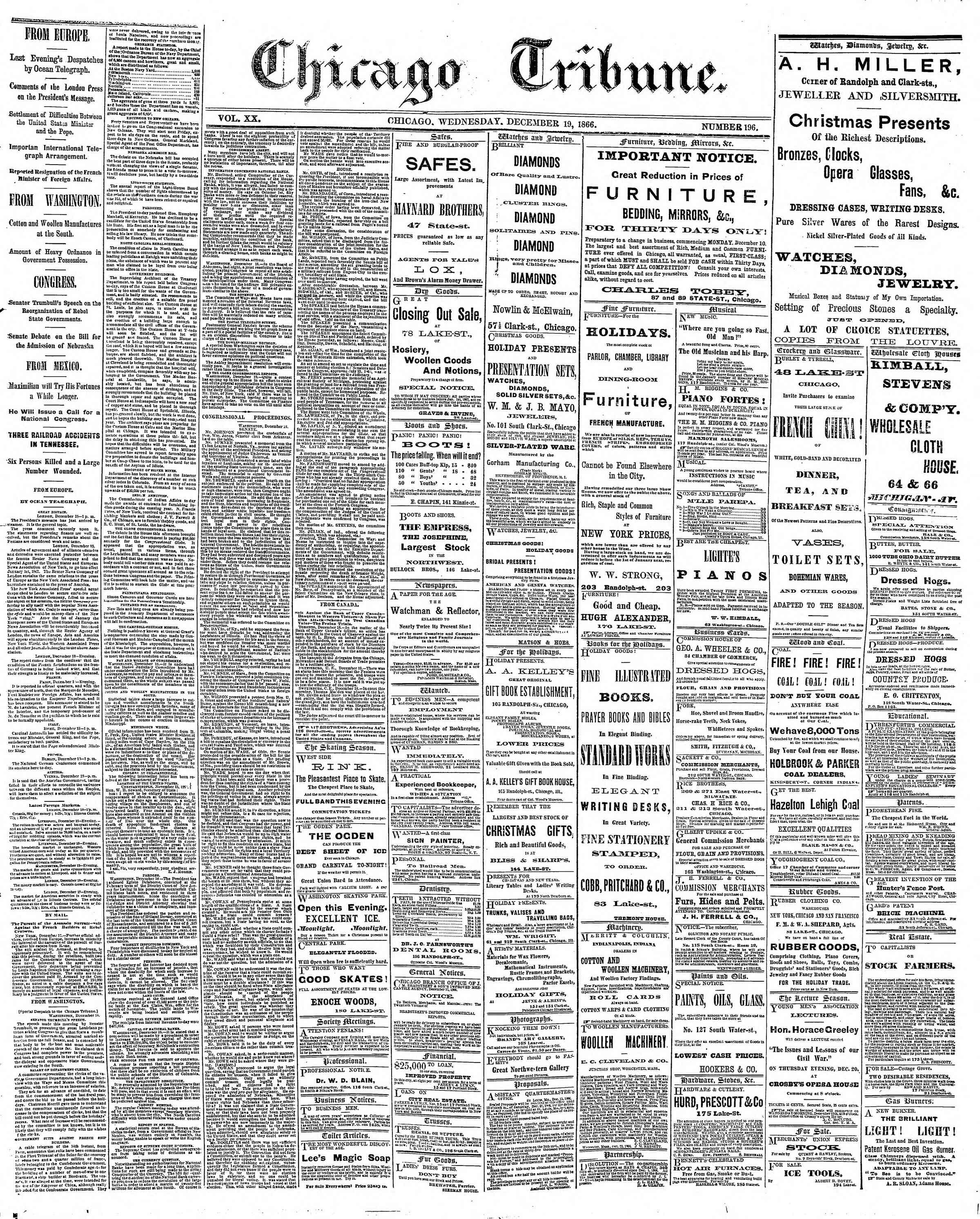 Newspaper of The Chicago Tribune dated December 19, 1866 Page 1