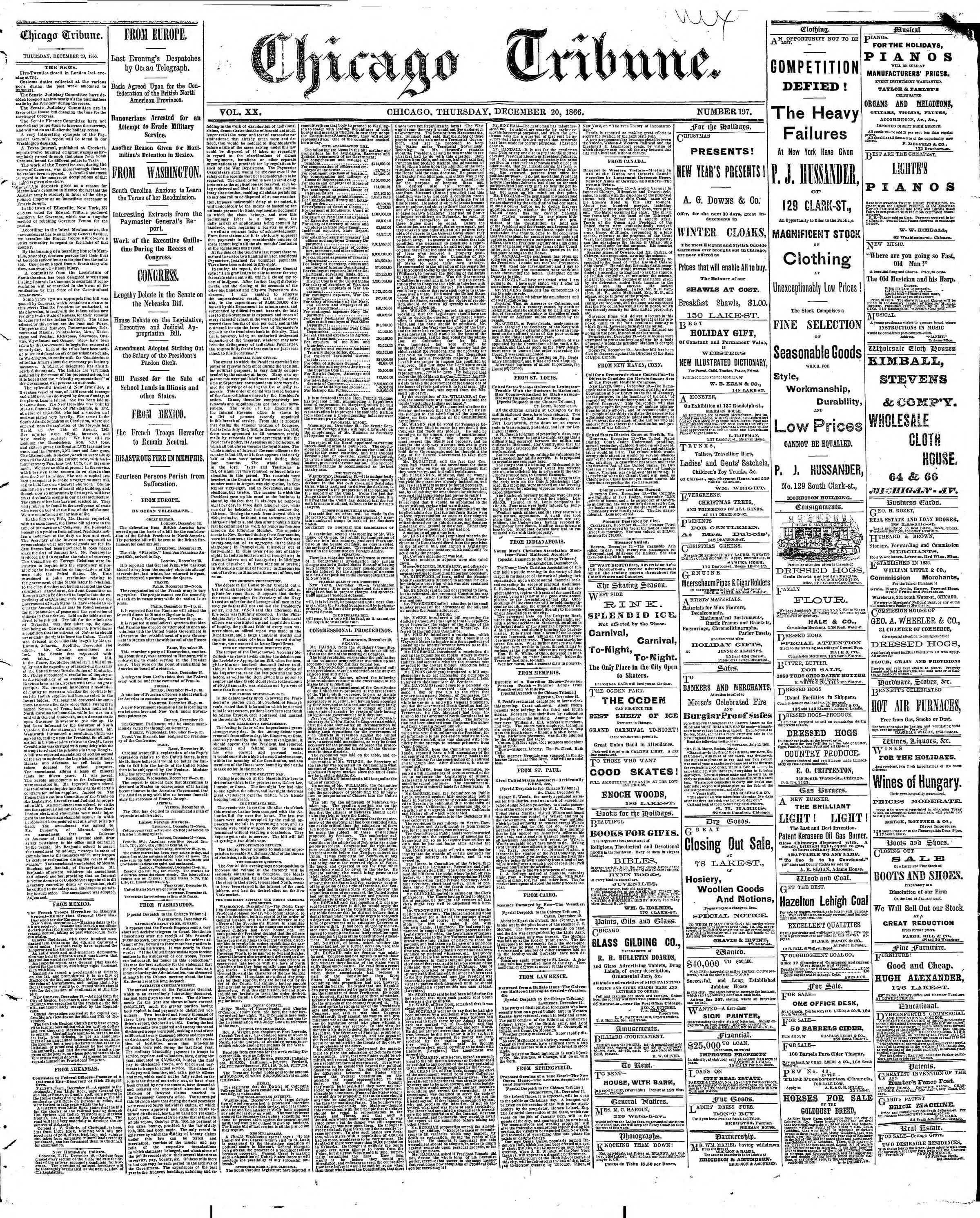 Newspaper of The Chicago Tribune dated December 20, 1866 Page 1