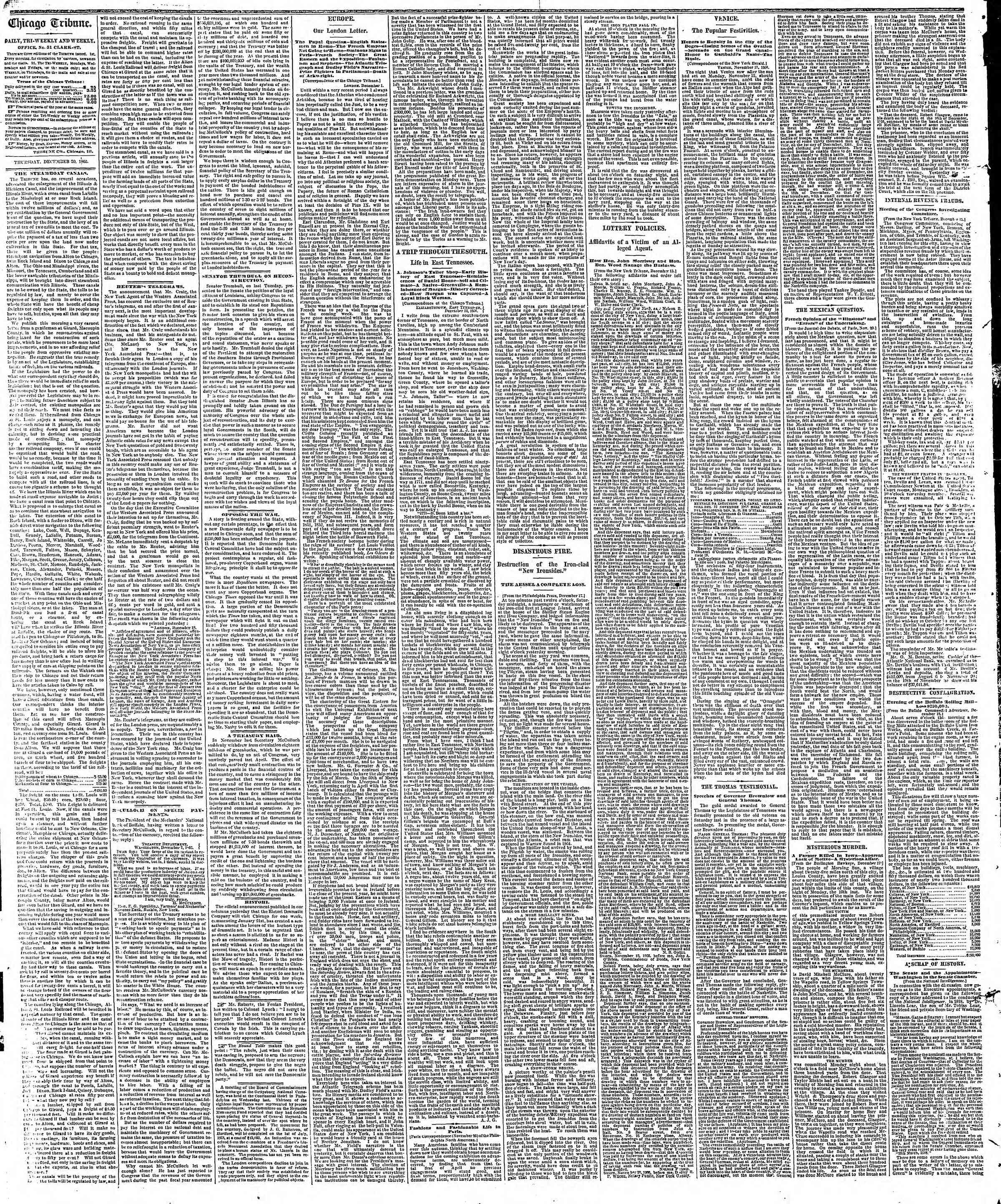 Newspaper of The Chicago Tribune dated December 20, 1866 Page 2