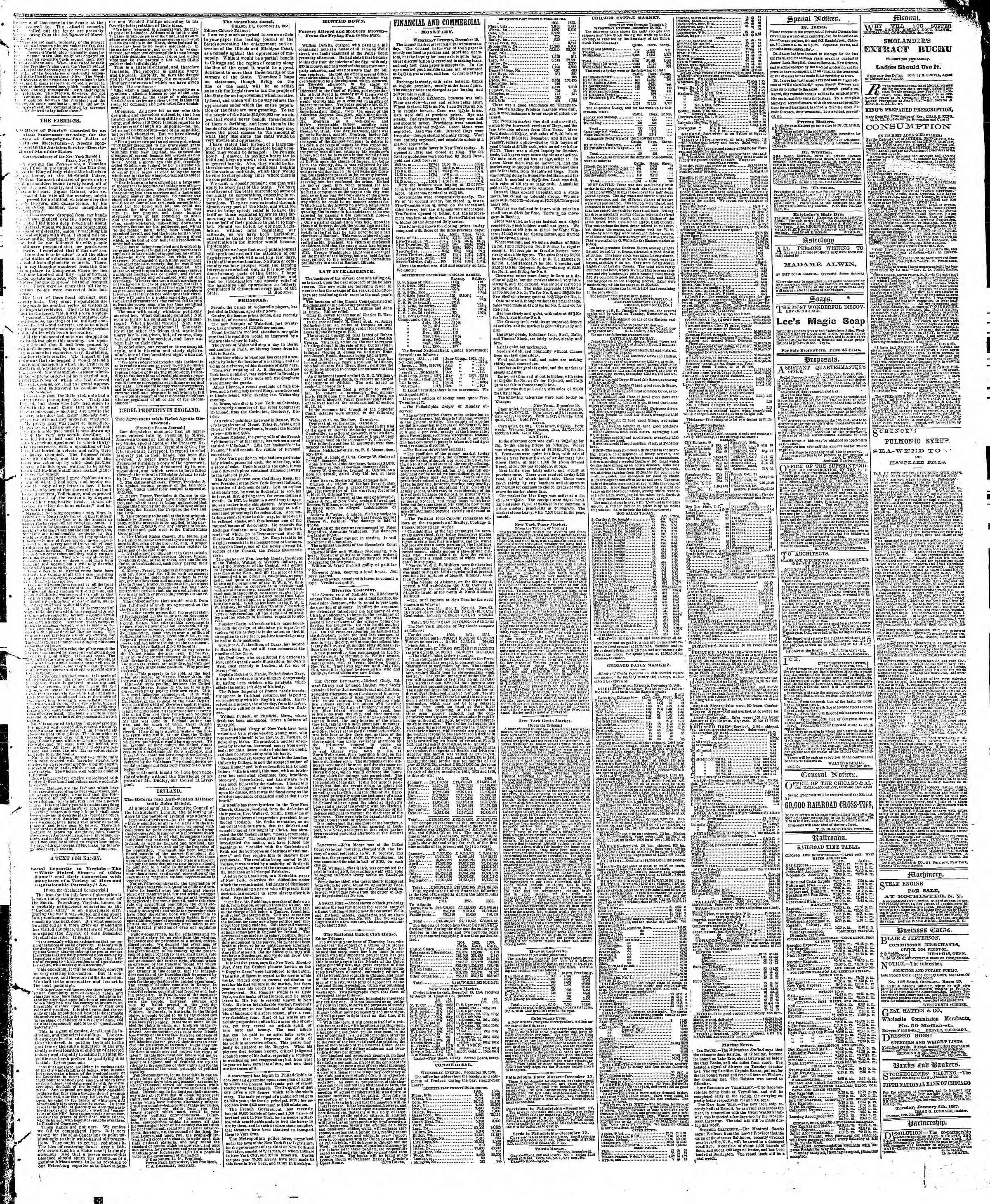 Newspaper of The Chicago Tribune dated 20 Aralık 1866 Page 3