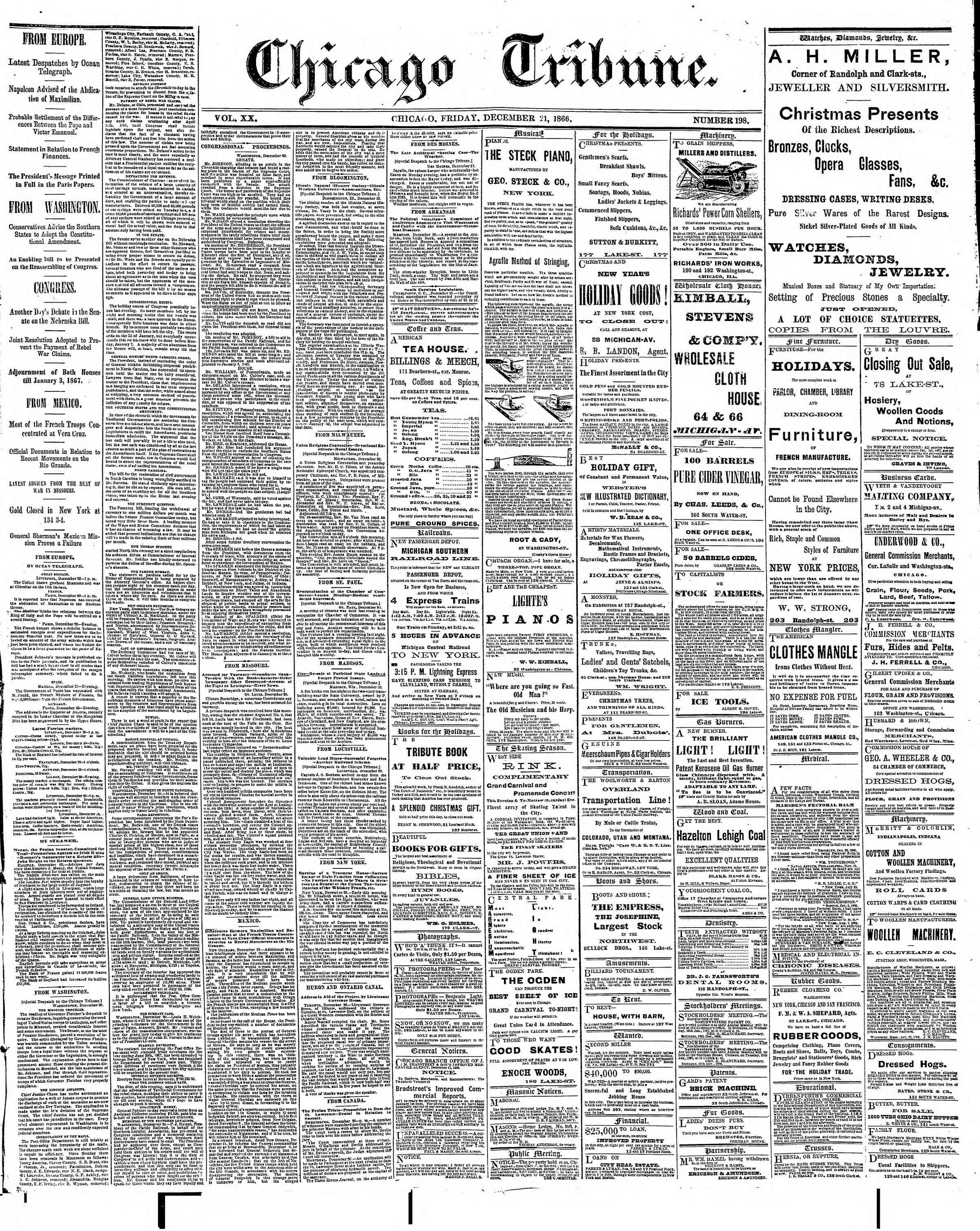 Newspaper of The Chicago Tribune dated December 21, 1866 Page 1