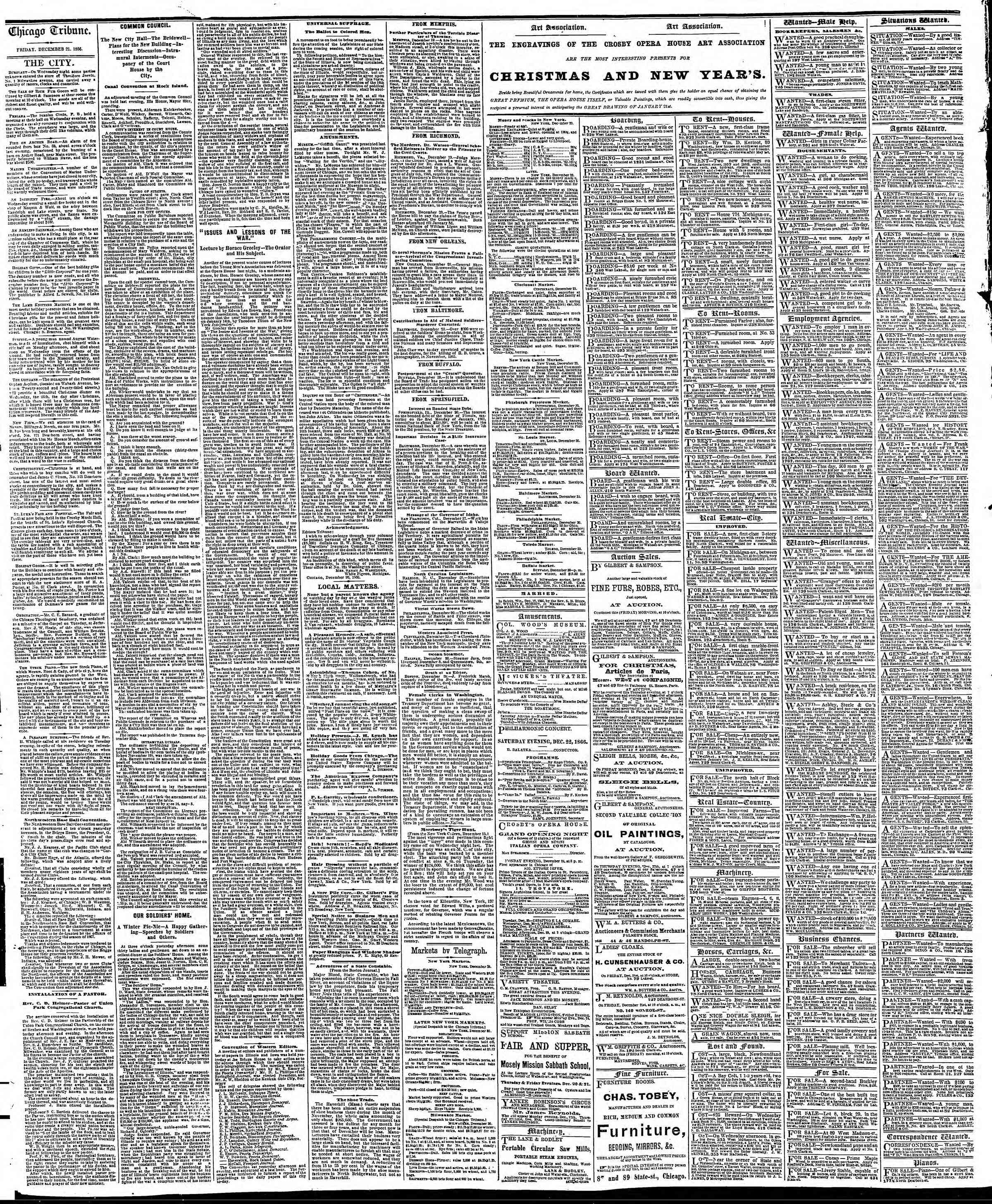 Newspaper of The Chicago Tribune dated December 21, 1866 Page 4