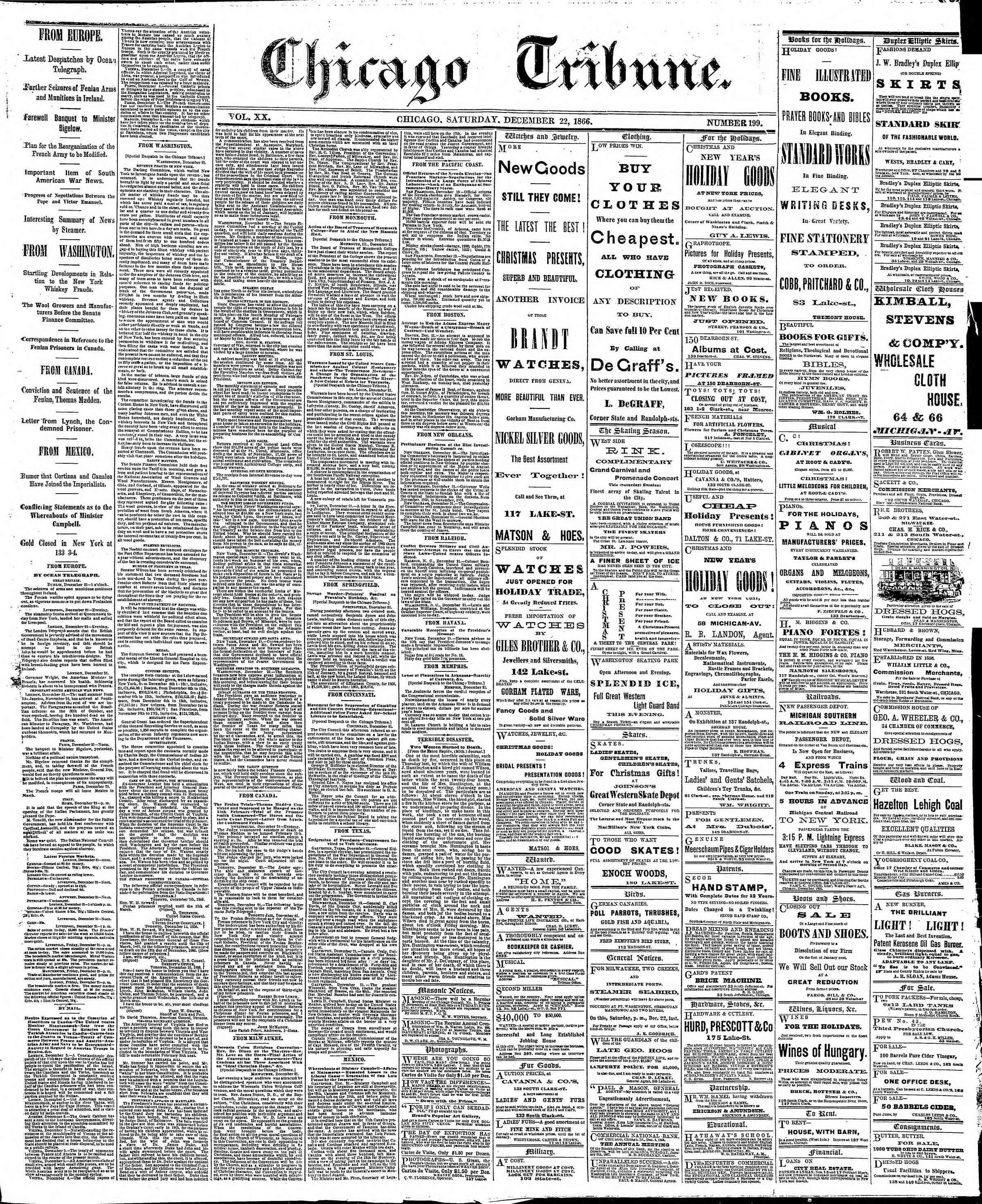 Newspaper of The Chicago Tribune dated December 22, 1866 Page 1