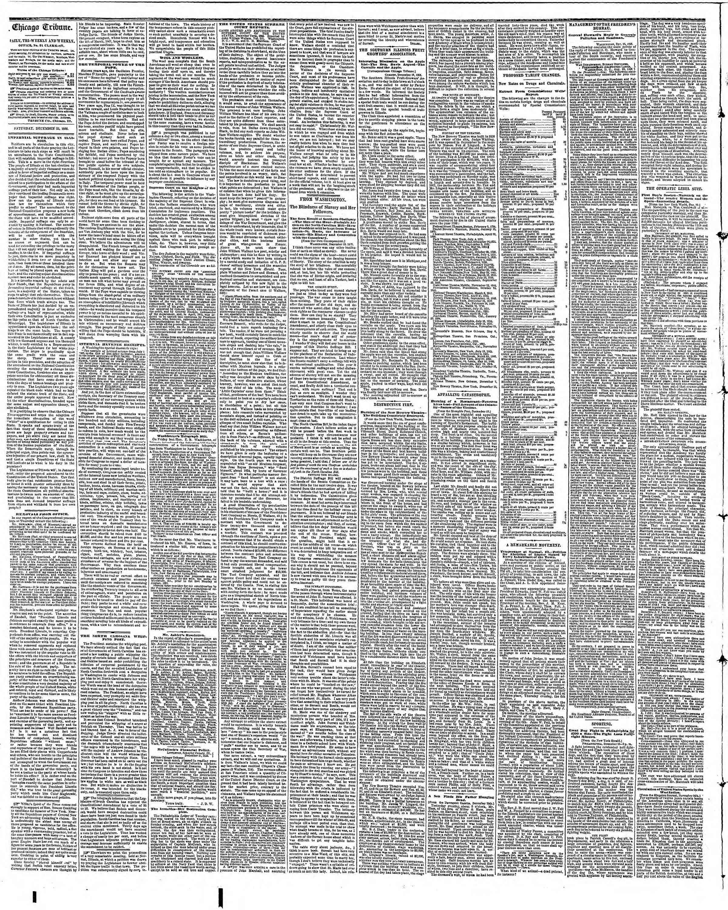 Newspaper of The Chicago Tribune dated December 22, 1866 Page 2
