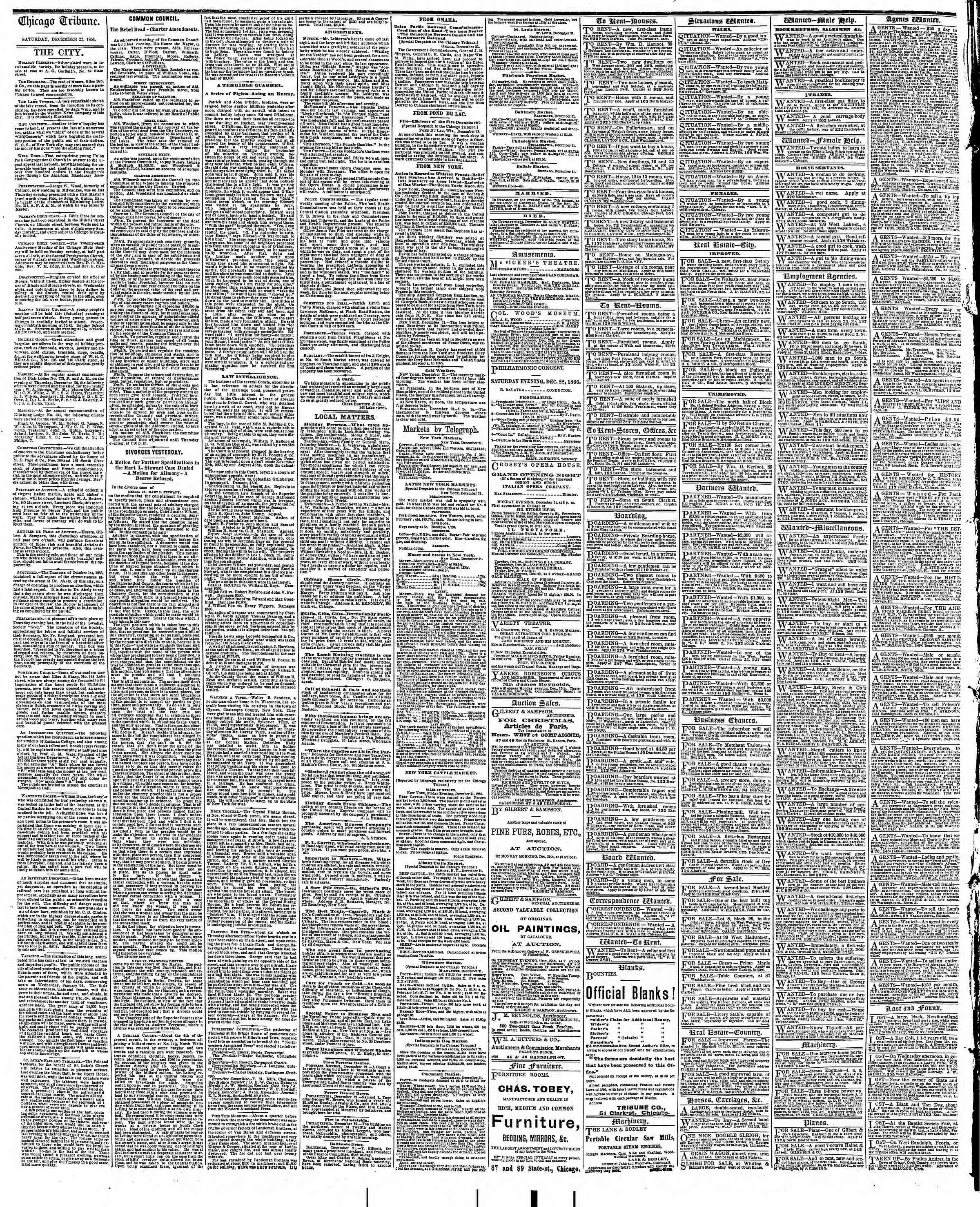 Newspaper of The Chicago Tribune dated December 22, 1866 Page 4