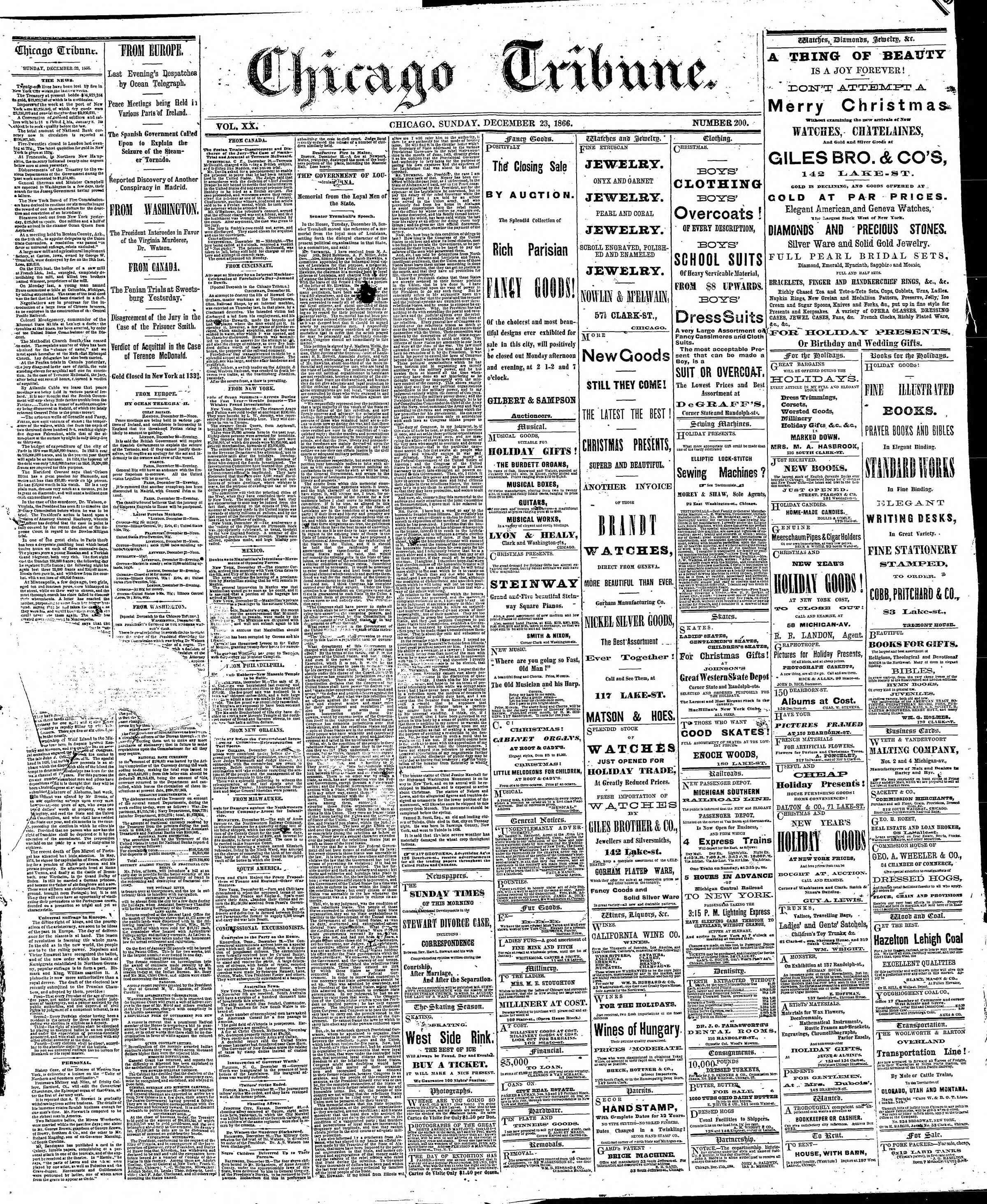 Newspaper of The Chicago Tribune dated December 23, 1866 Page 1